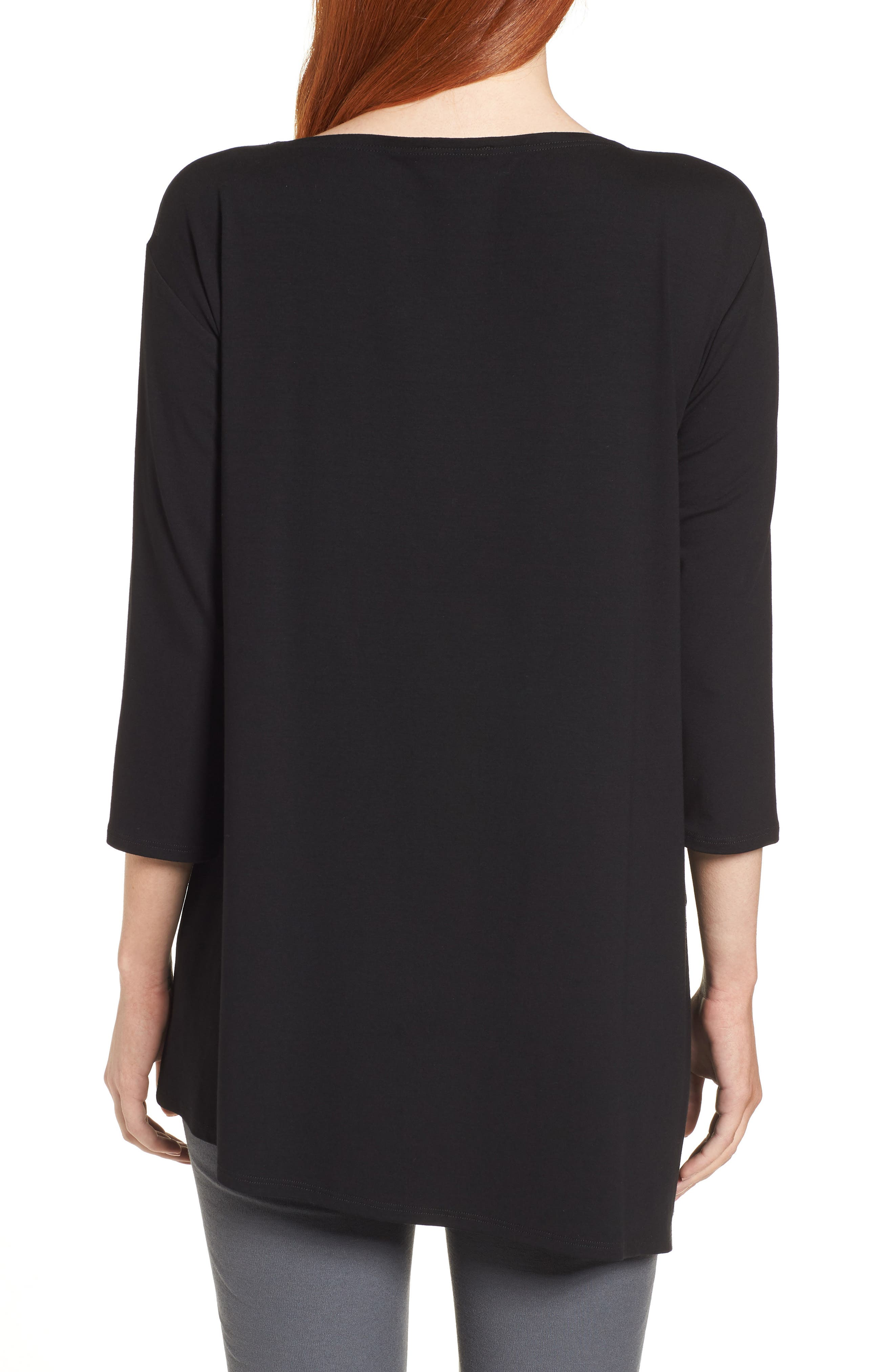 EILEEN FISHER,                             Asymmetrical Jersey Top,                             Alternate thumbnail 2, color,                             001