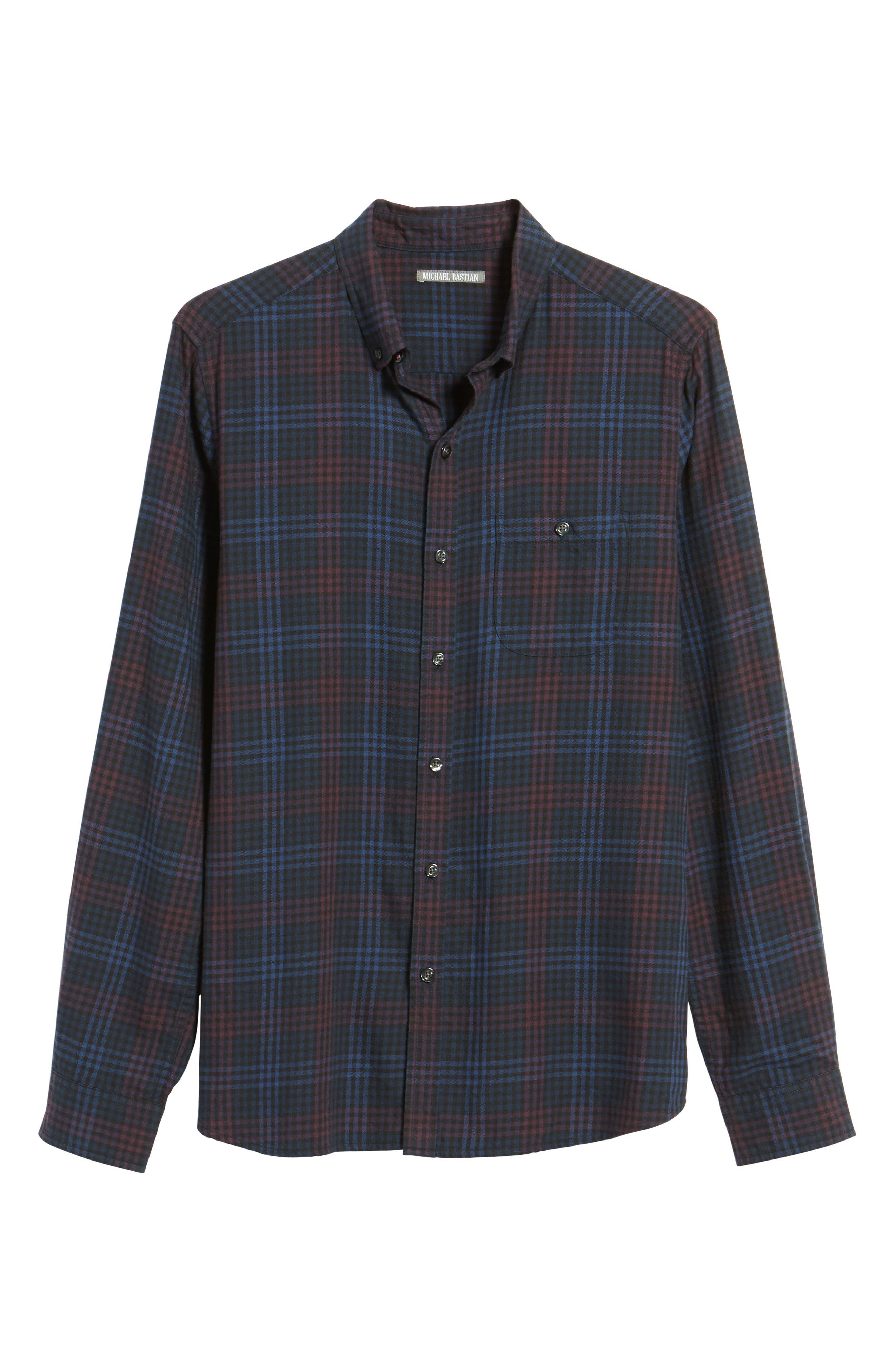 Trim Fit Plaid Flannel Sport Shirt,                             Alternate thumbnail 6, color,                             410