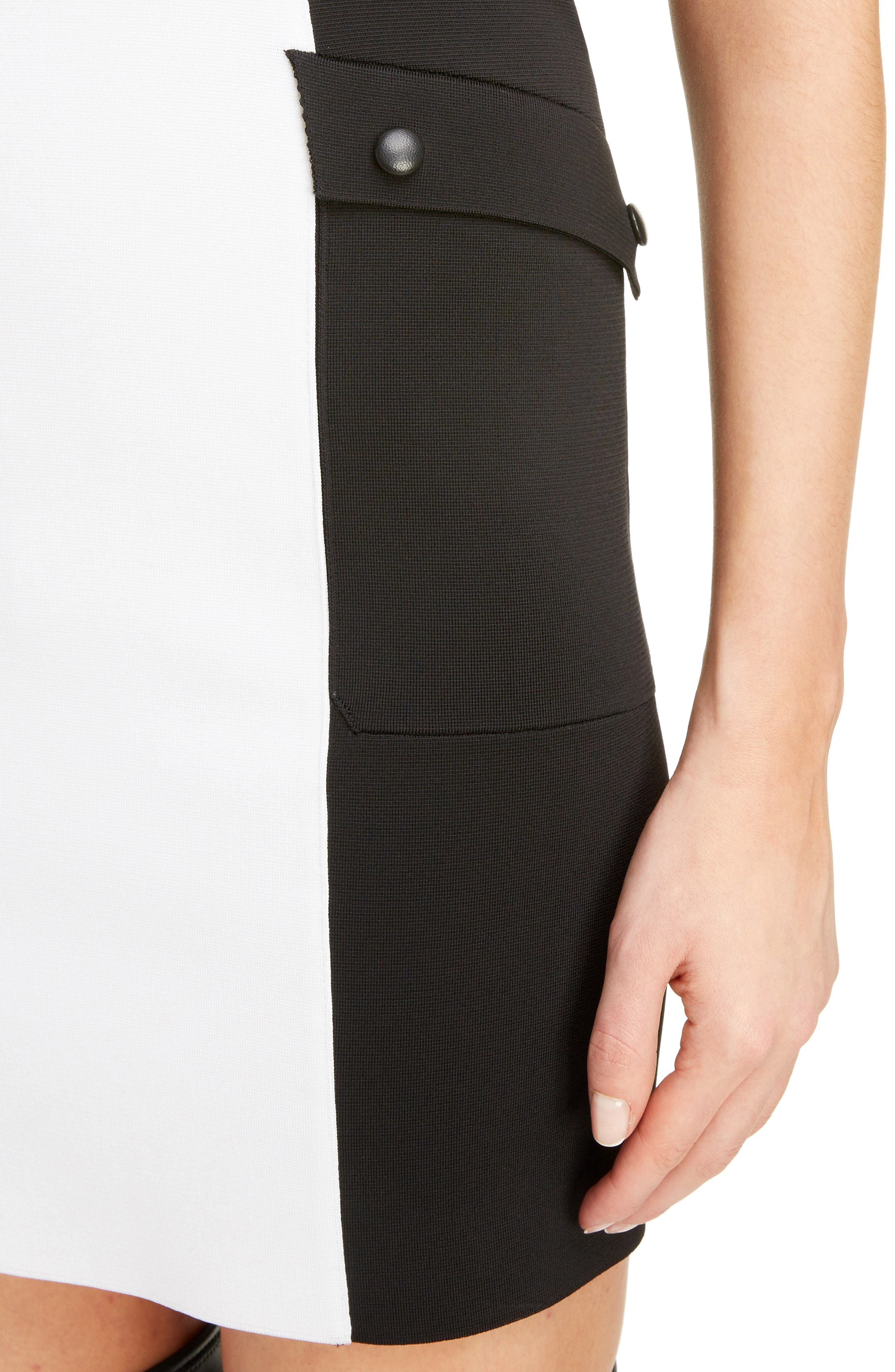 Two-Tone Punto Milano Dress,                             Alternate thumbnail 4, color,                             BLACK/ WHITE