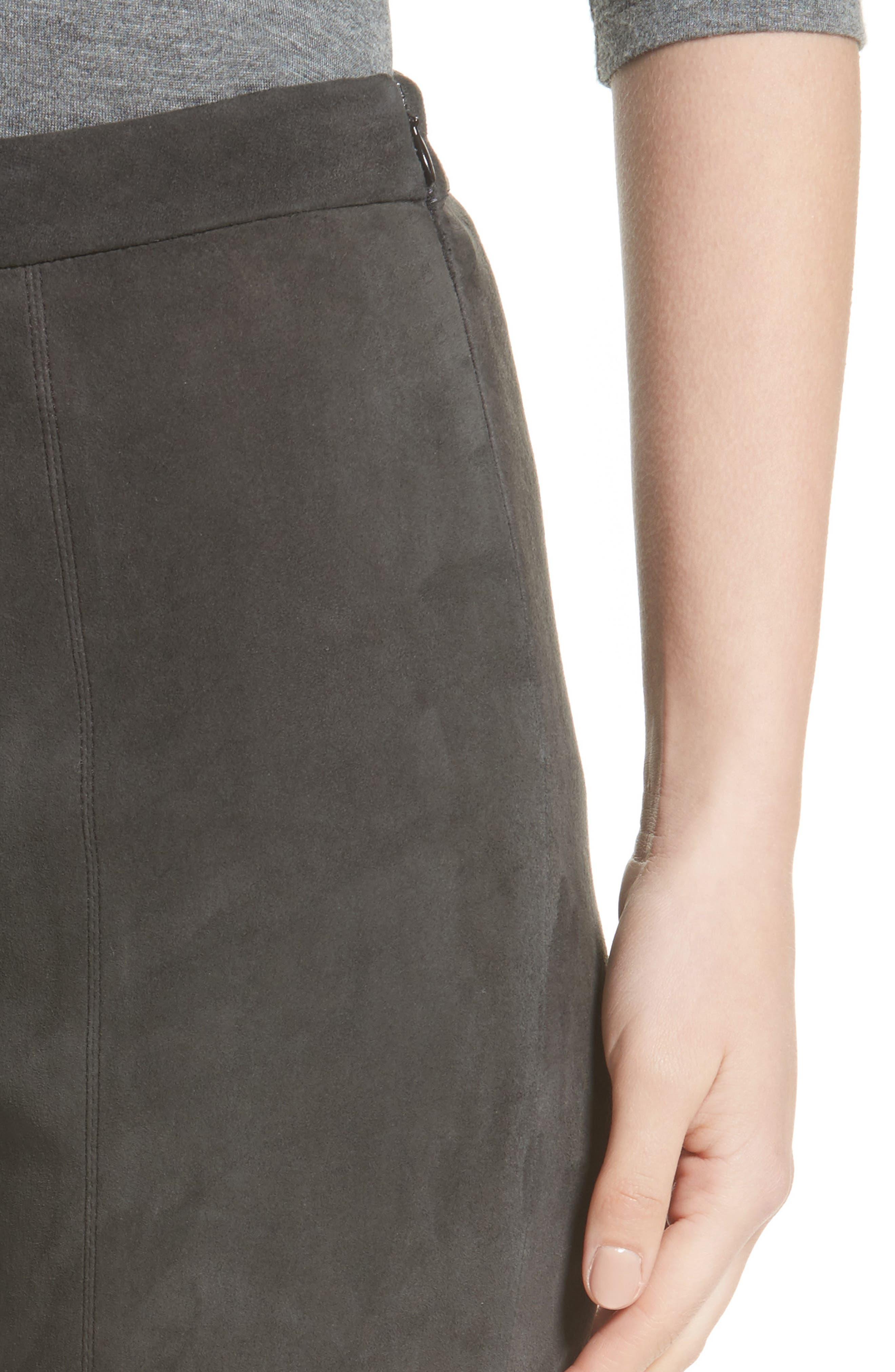 Stretch Suede Capri Pants,                             Alternate thumbnail 4, color,                             020