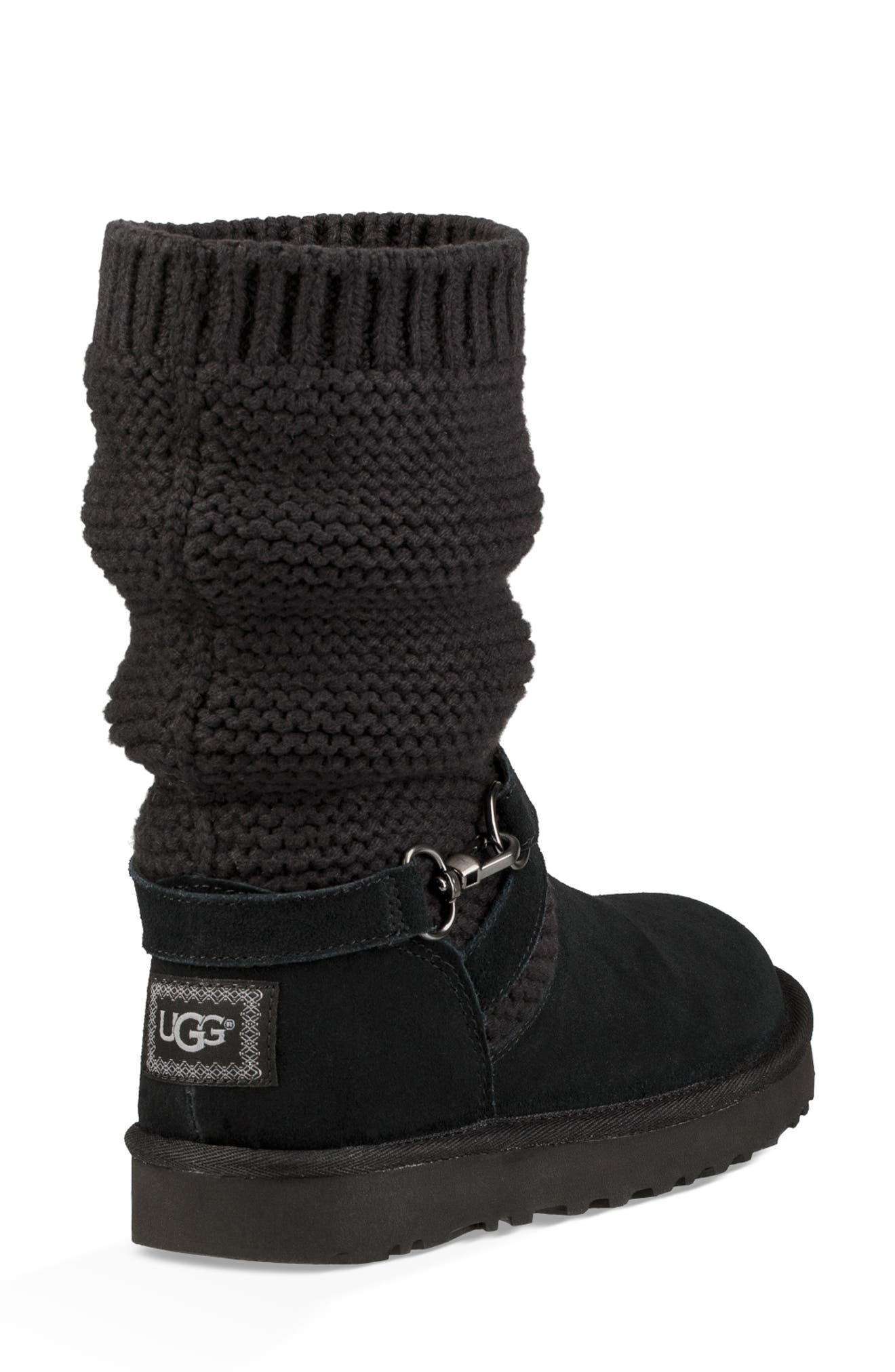 UGGpure<sup>™</sup> Strappy Purl Knit Bootie,                             Alternate thumbnail 3, color,                             BLACK SUEDE