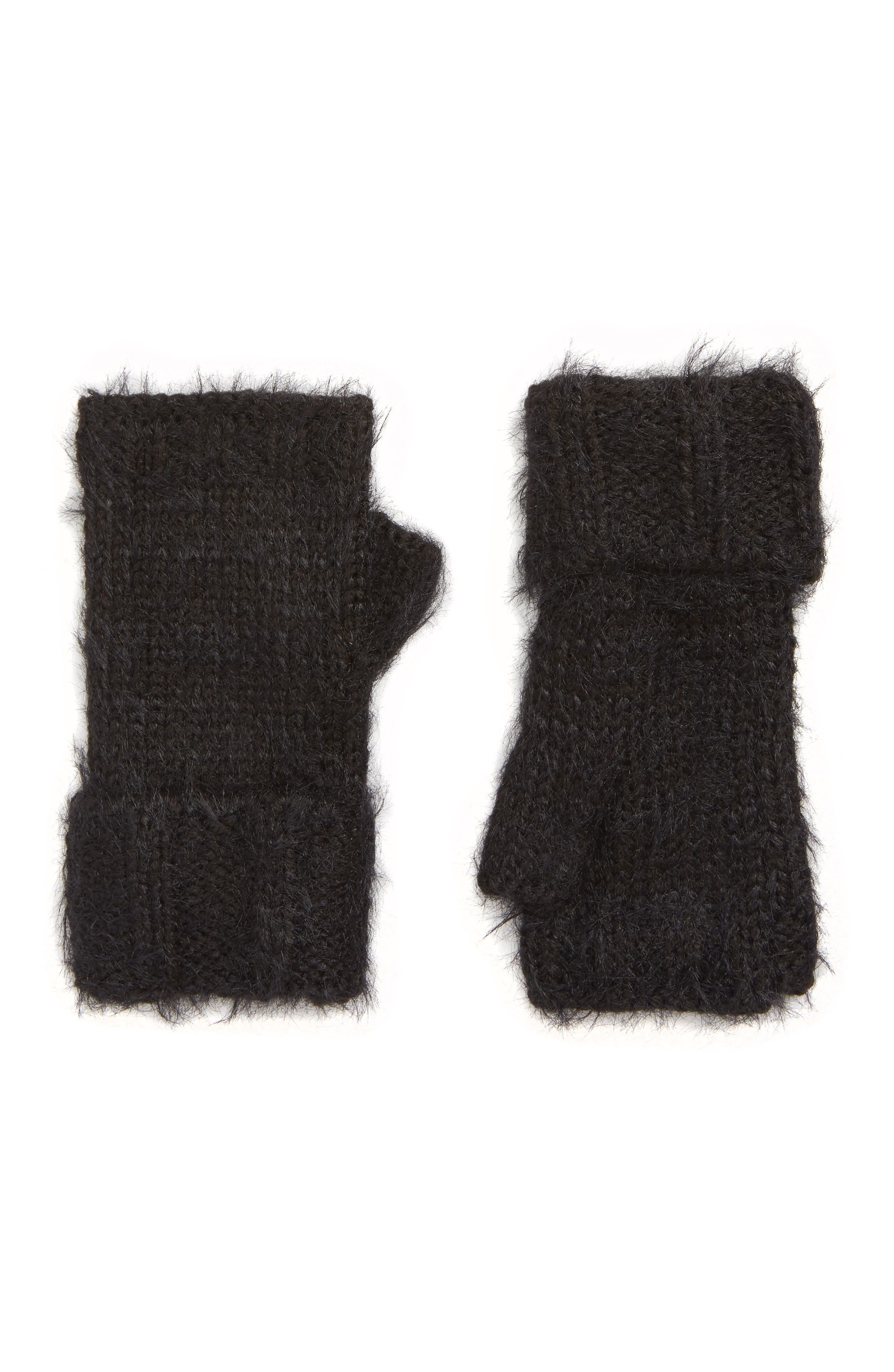 Eyelash Fingerless Gloves,                             Main thumbnail 1, color,                             BLACK