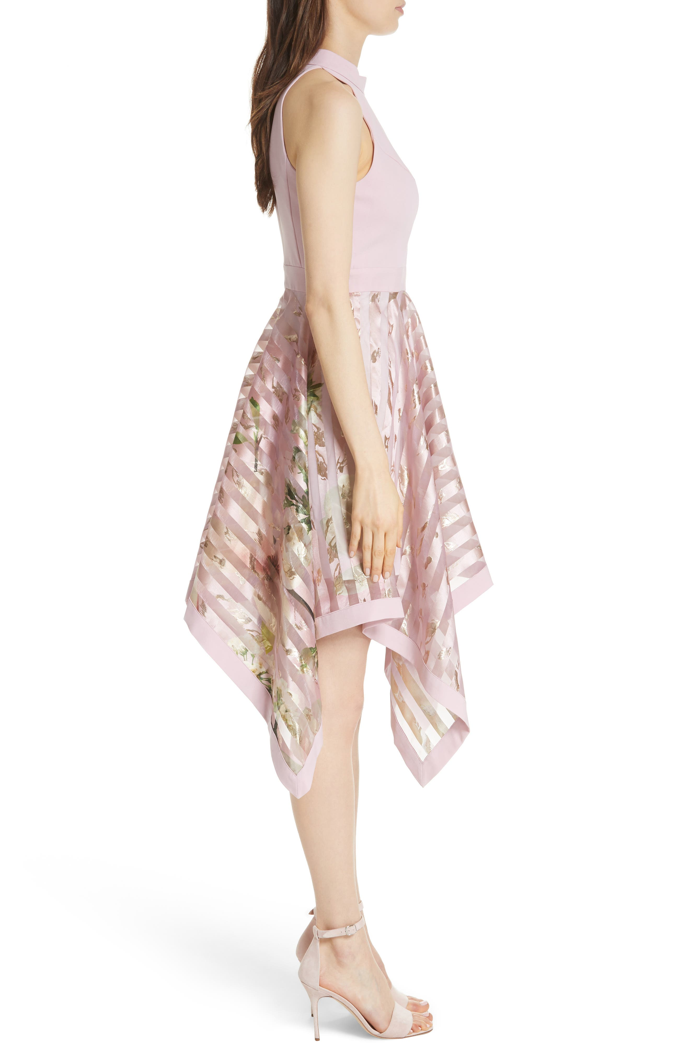 Harmony Burnout Metallic Stripe Dress,                             Alternate thumbnail 3, color,                             PALE PINK