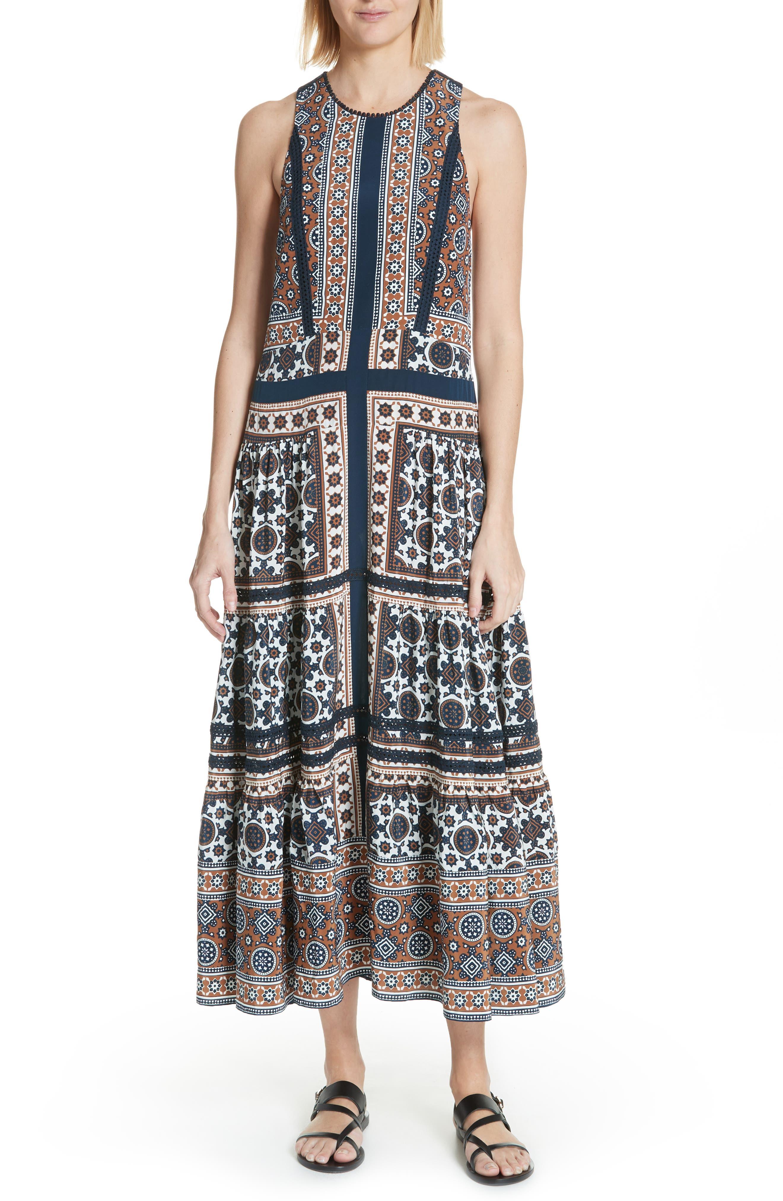 Ezri Print Maxi Dress,                         Main,                         color, BLUE MULTI