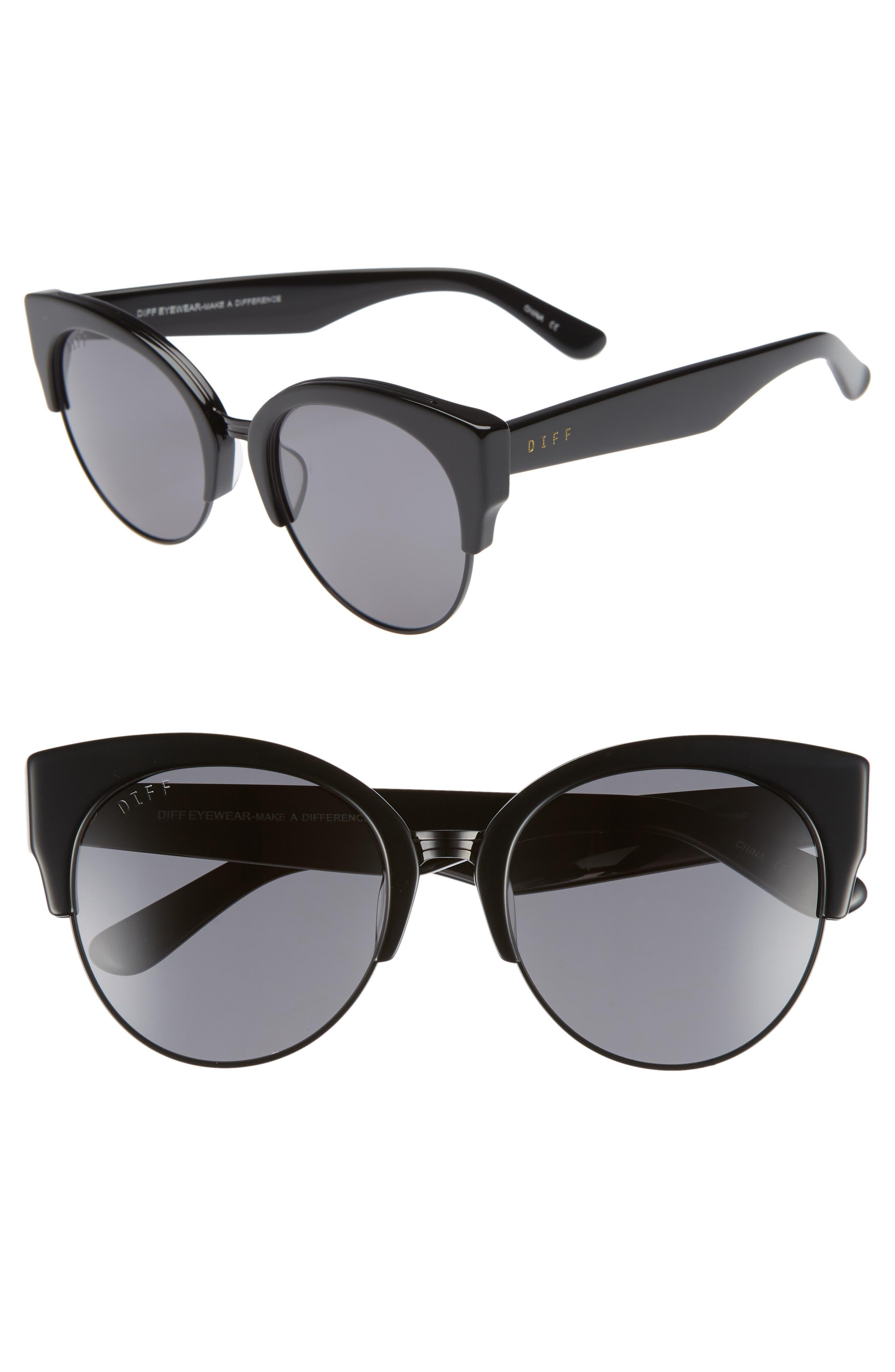 Stella 55mm Polarized Cat Eye Sunglasses,                         Main,                         color, BLACK/ GREY
