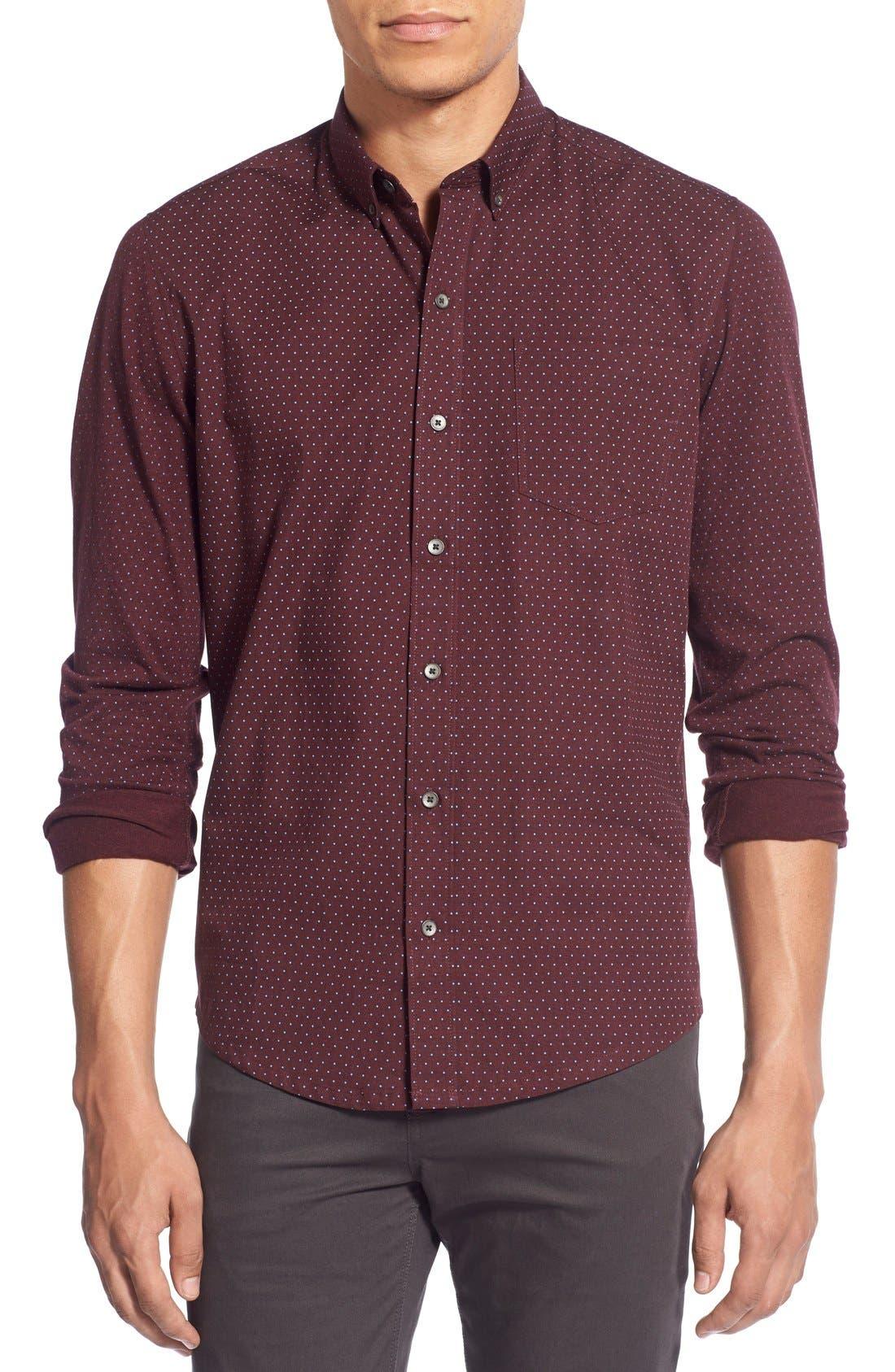'Reworkd' Trim Fit Dot Print Mixed Media Sport Shirt,                             Main thumbnail 4, color,