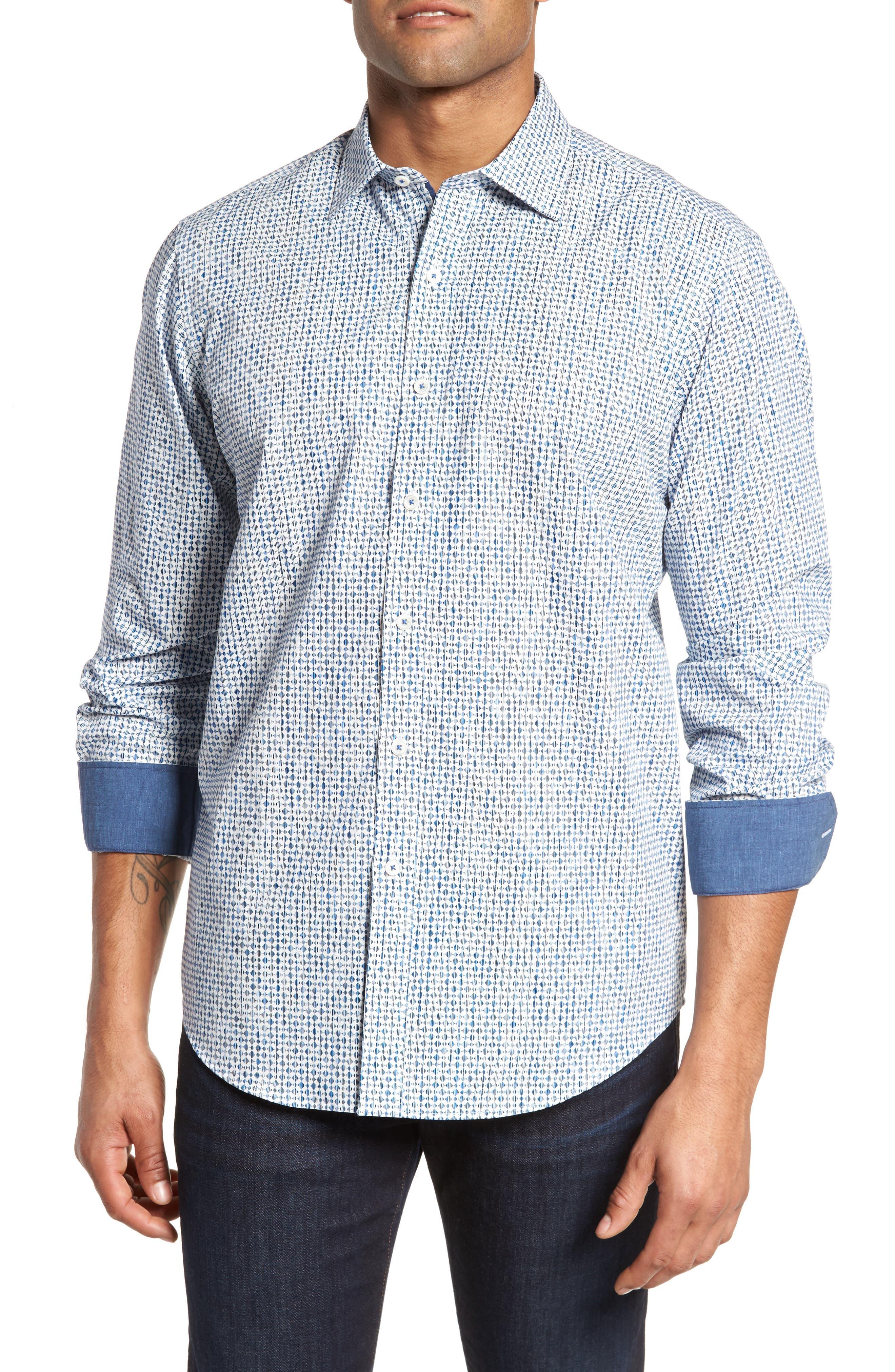 Classic Fit Print Sport Shirt,                         Main,                         color, 420