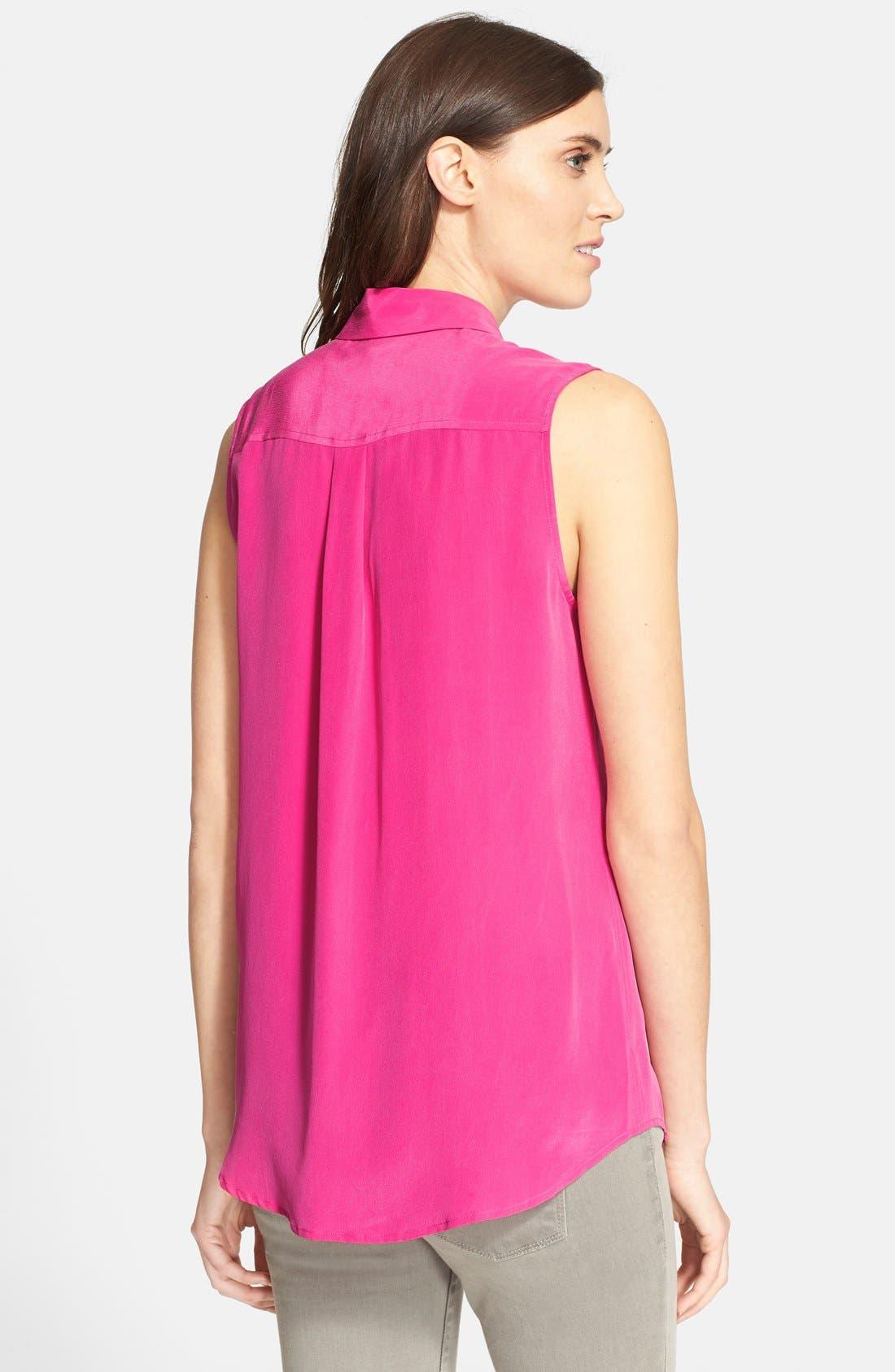 'Slim Signature' Sleeveless Silk Shirt,                             Alternate thumbnail 85, color,