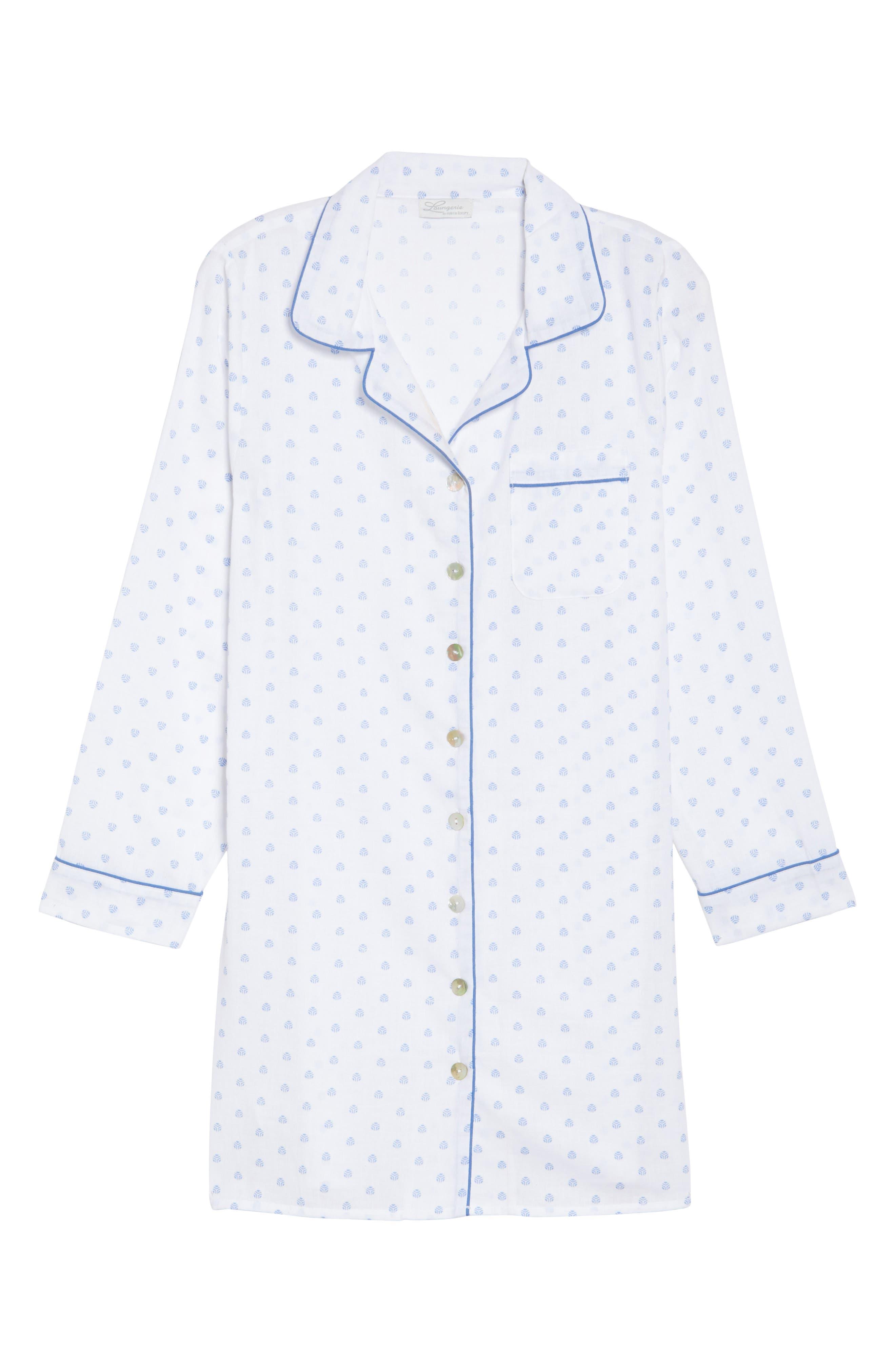 Print Washed Cotton Sleep Shirt,                             Alternate thumbnail 6, color,                             100