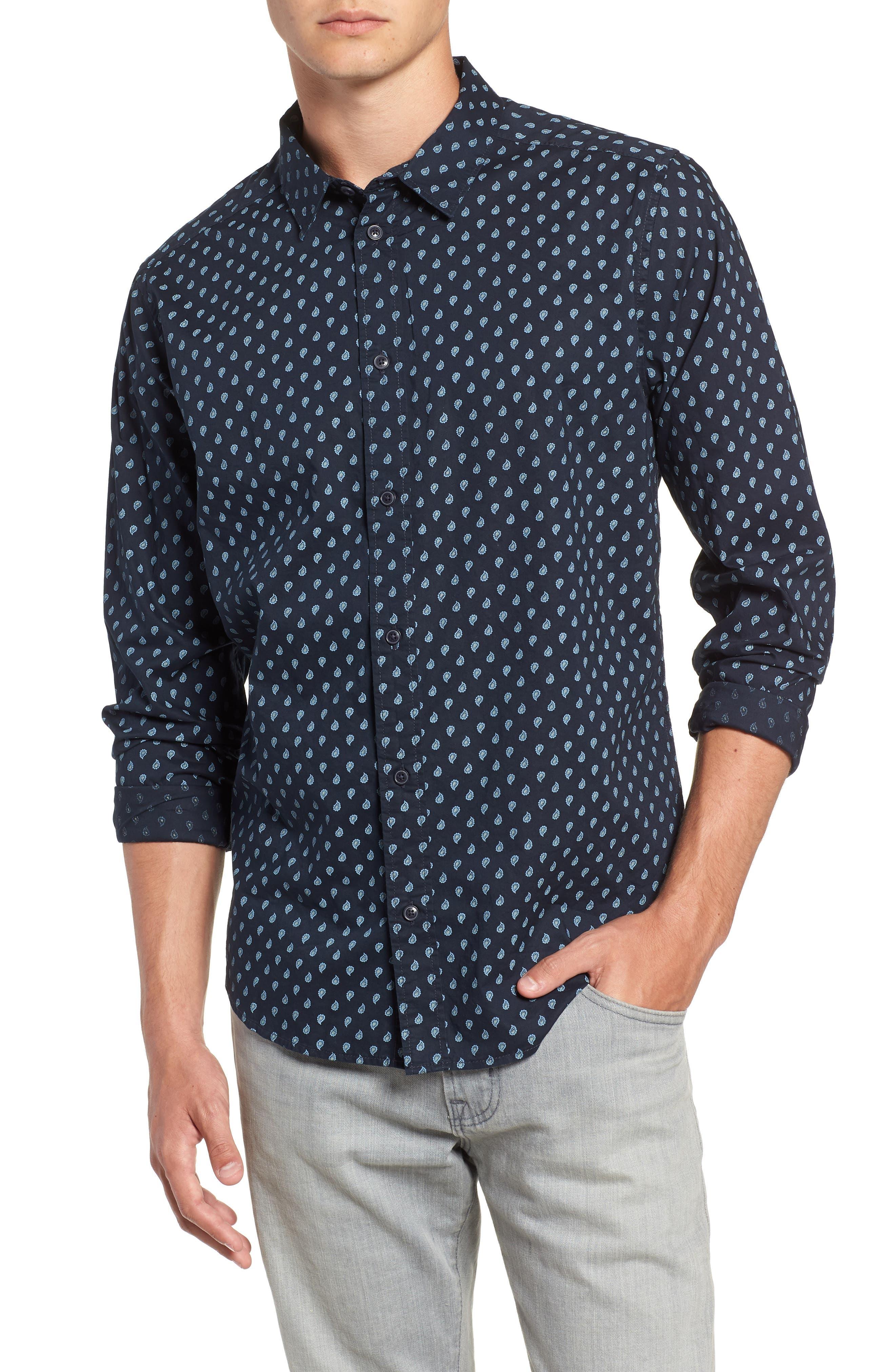 Mini Paisley Woven Long Sleeve Shirt,                         Main,                         color, 402