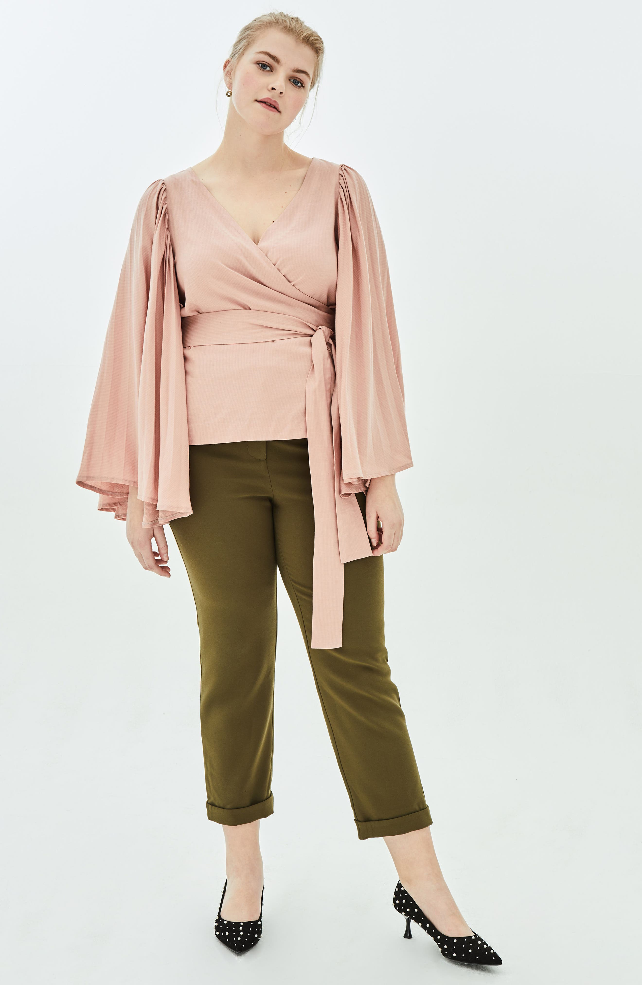 The Luster Pleat Sleeve Wrap Top,                             Alternate thumbnail 7, color,                             PINK