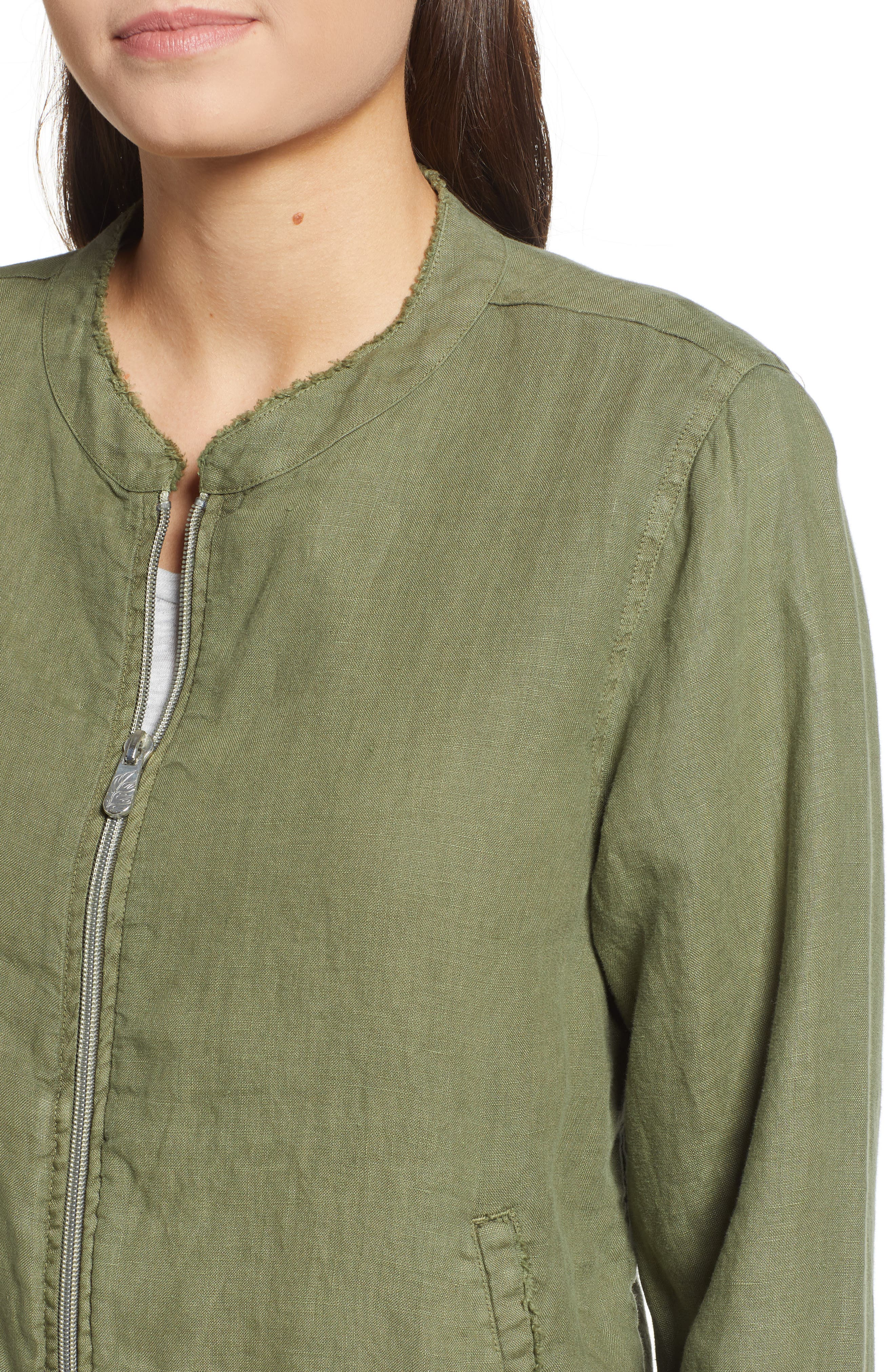 Linen Bomber Jacket,                             Alternate thumbnail 4, color,                             300