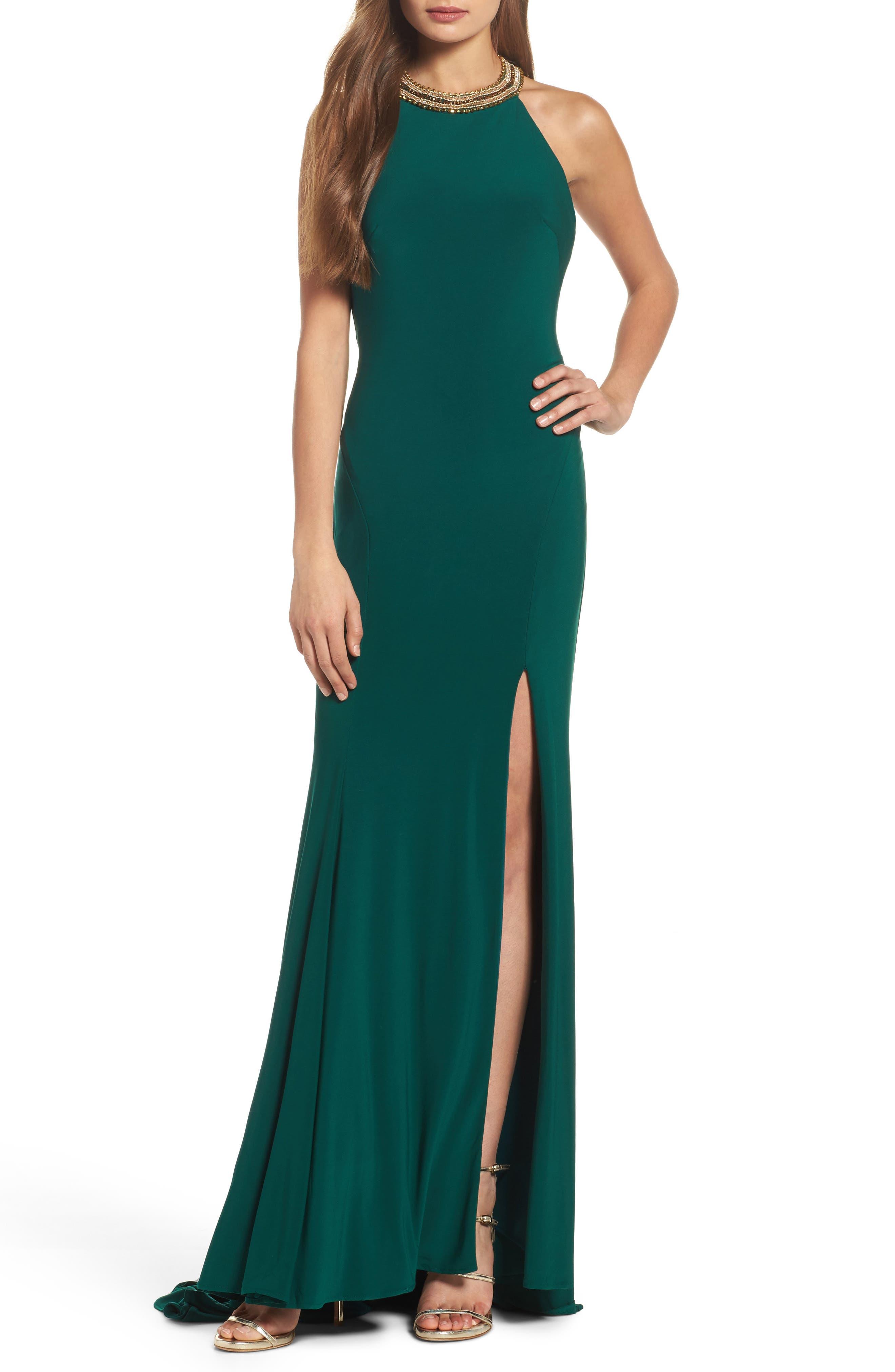 MAC Duggal Beaded Halter Neck Gown, Green