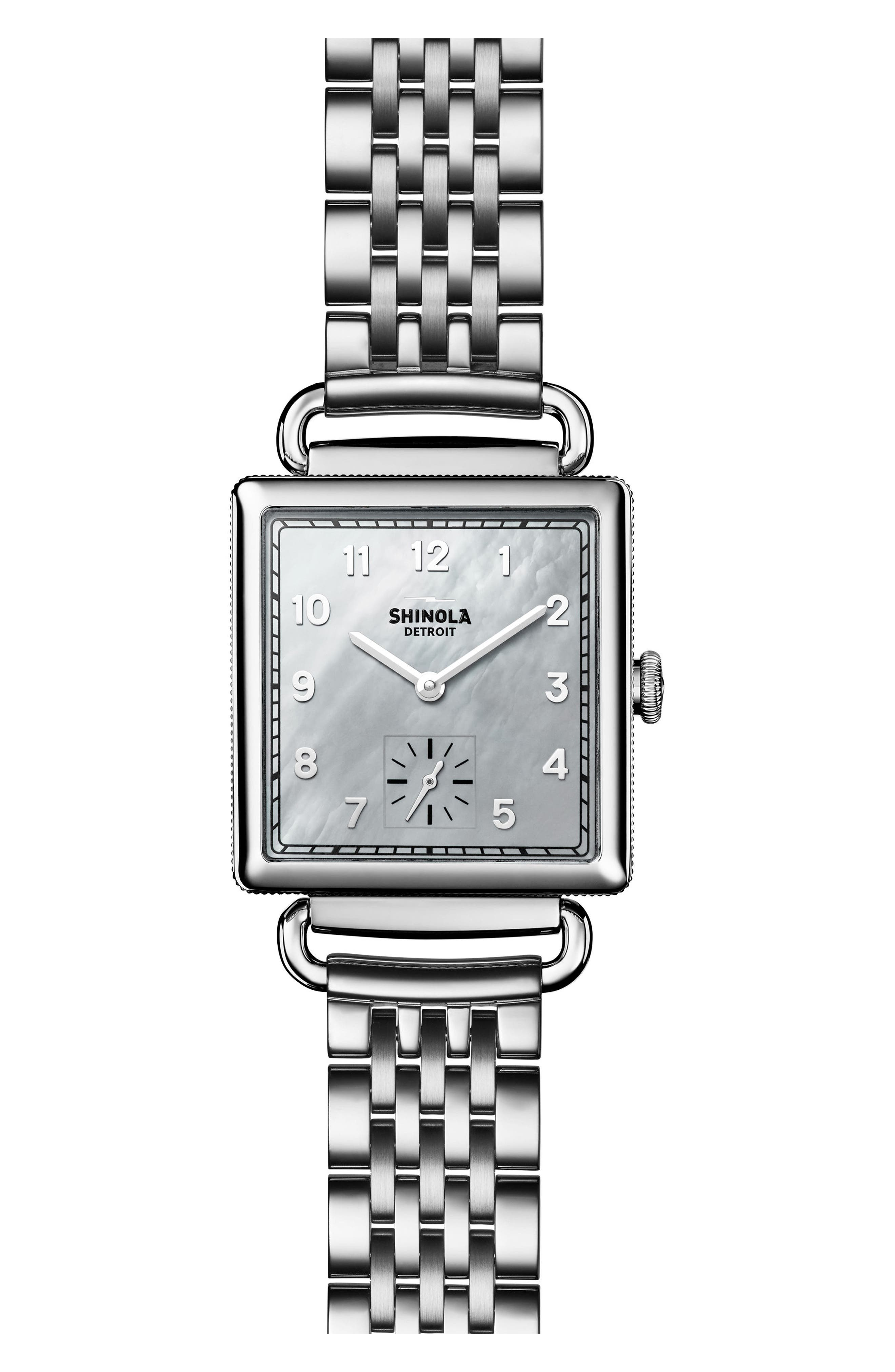 Cass Bracelet Watch, 27mm x 27mm,                         Main,                         color, SILVER/ MOP/ SILVER