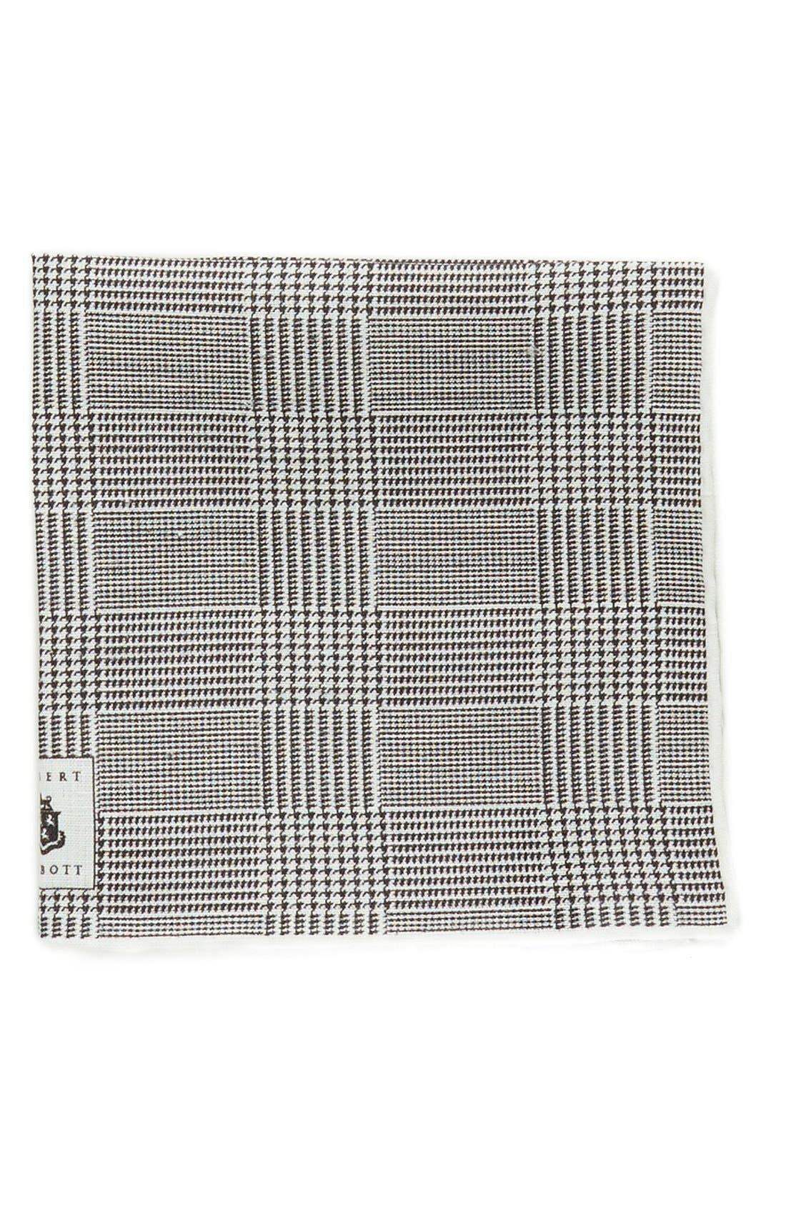 Plaid Linen Pocket Square,                         Main,                         color, 001