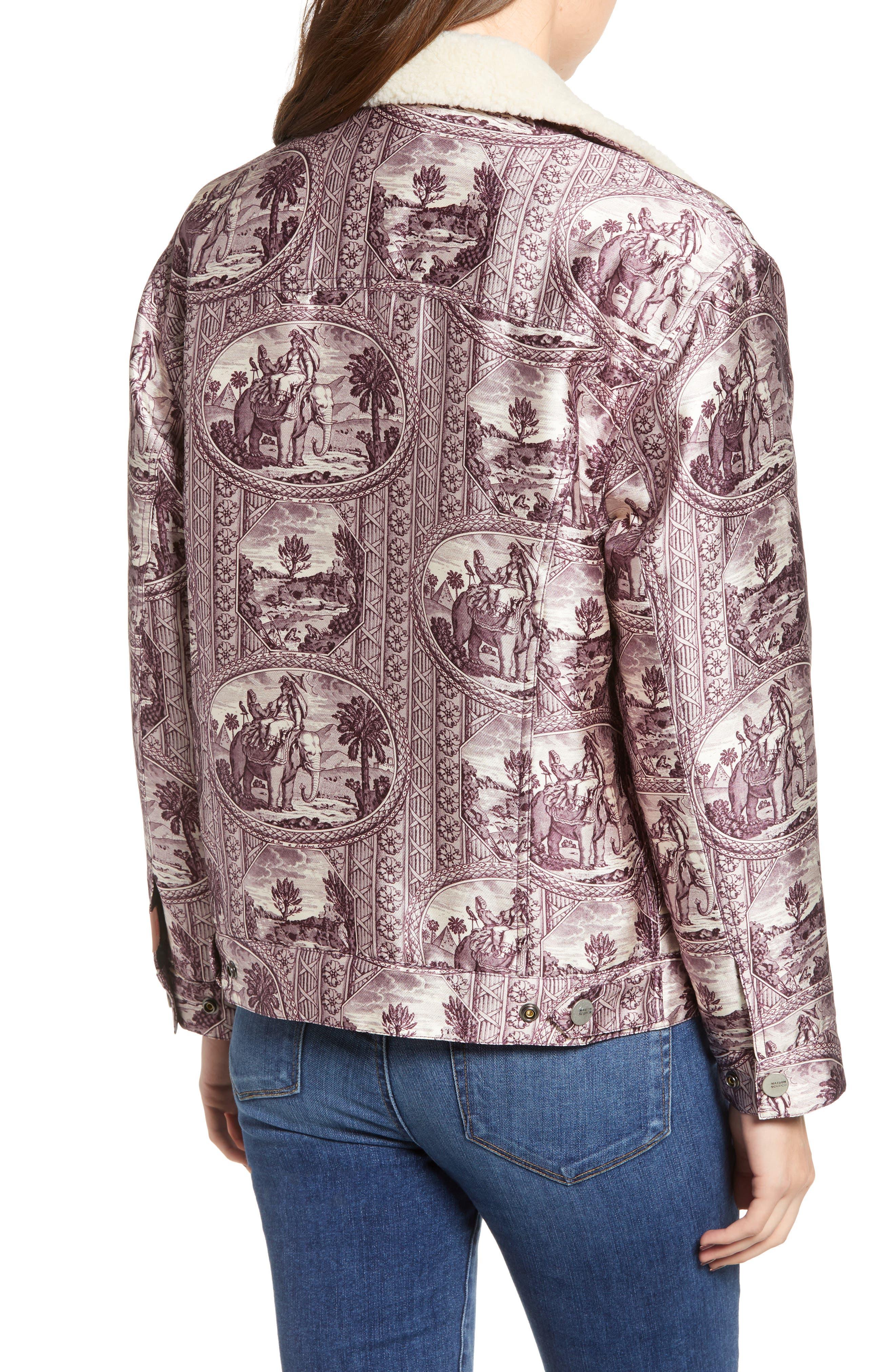 Fleece Lined Print Trucker Jacket,                             Alternate thumbnail 2, color,                             LILAC ELEPHANT PRINT