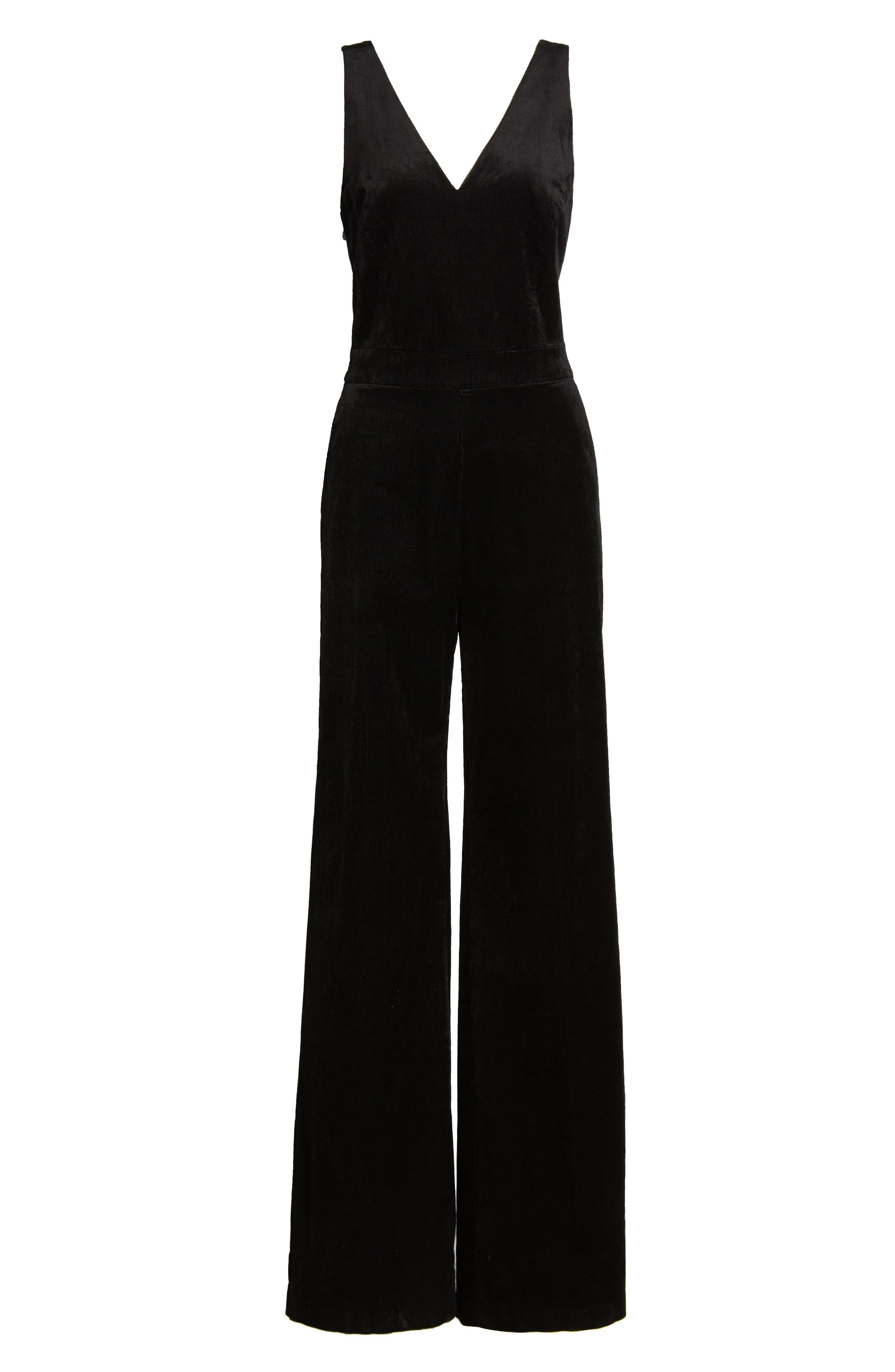 Sienne Corduroy Jumpsuit,                             Alternate thumbnail 7, color,                             BLACK