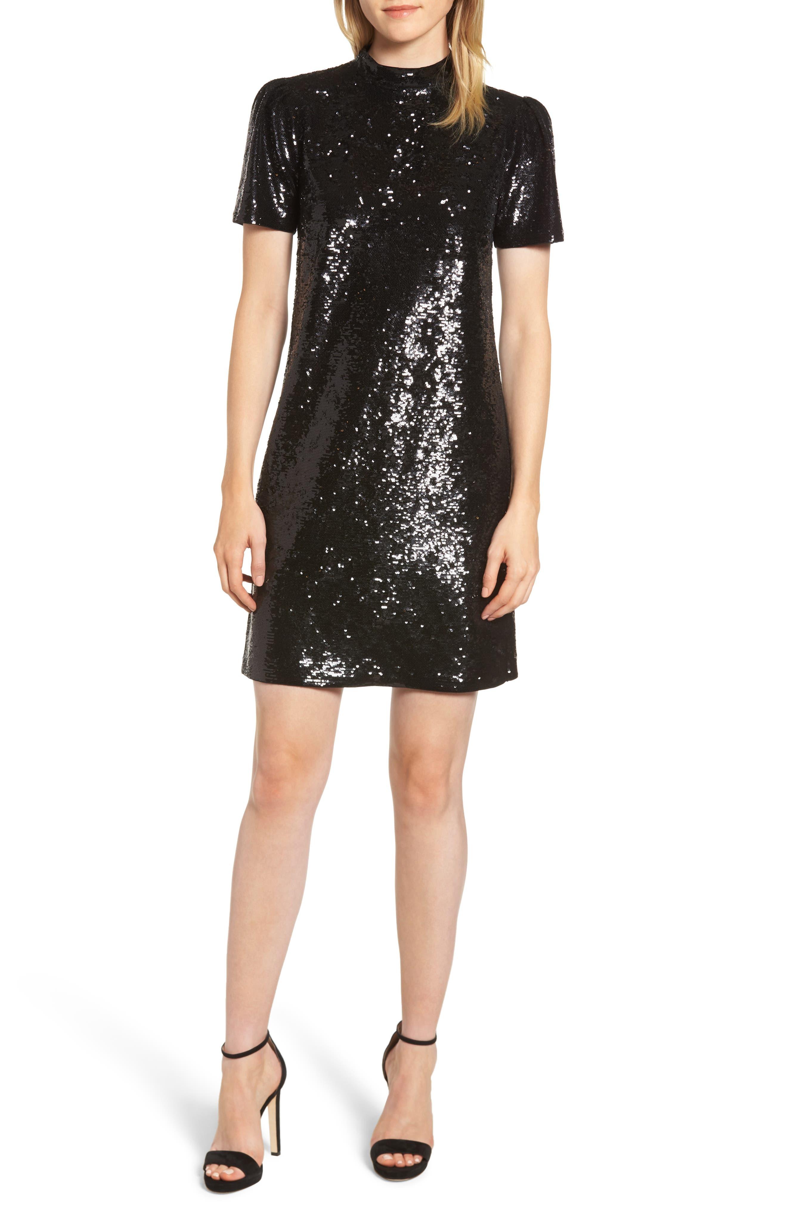 Mock Neck Sequin Minidress,                         Main,                         color, 001