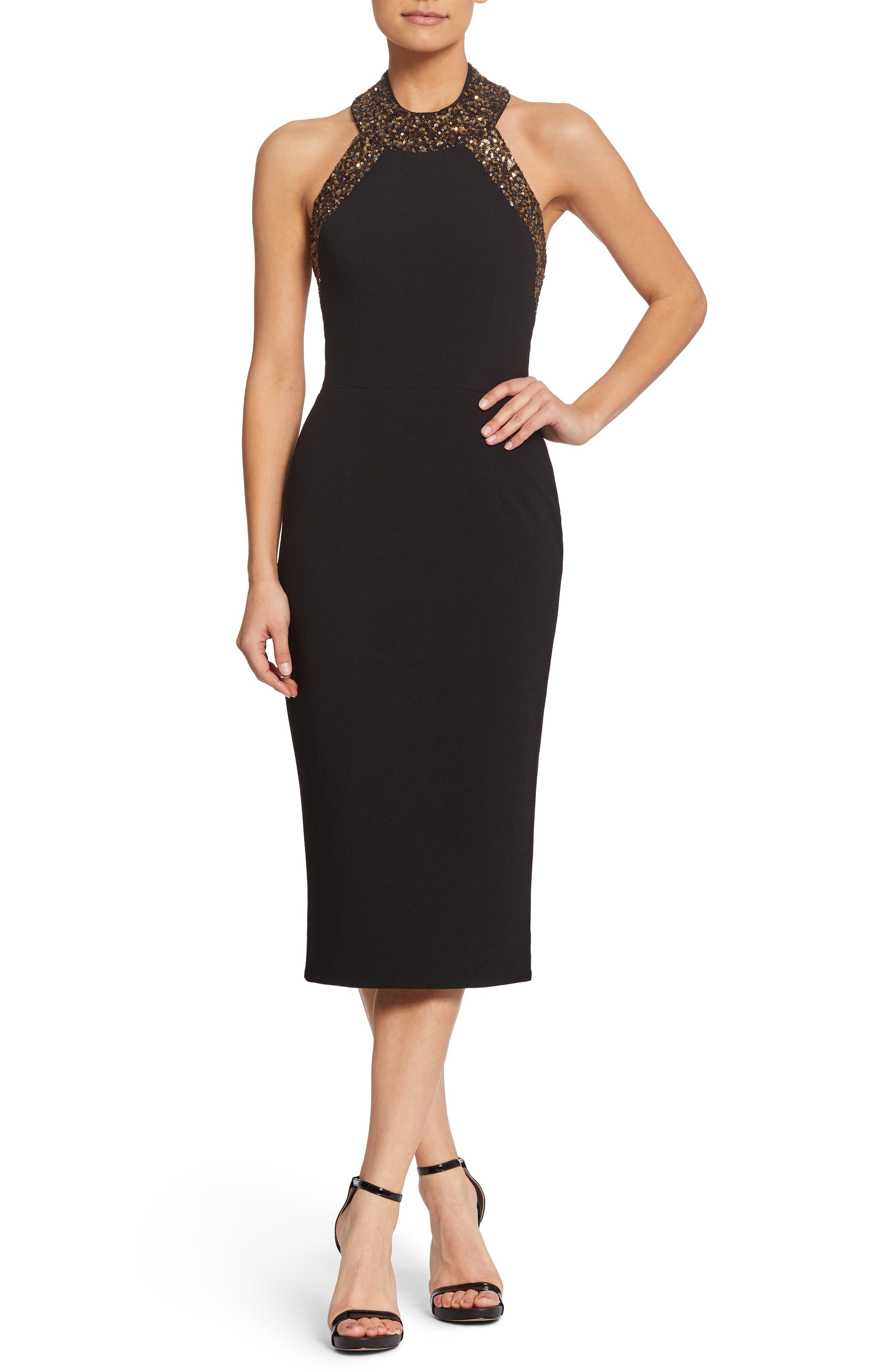 Dress The Population Cleo Halter Dress, Black