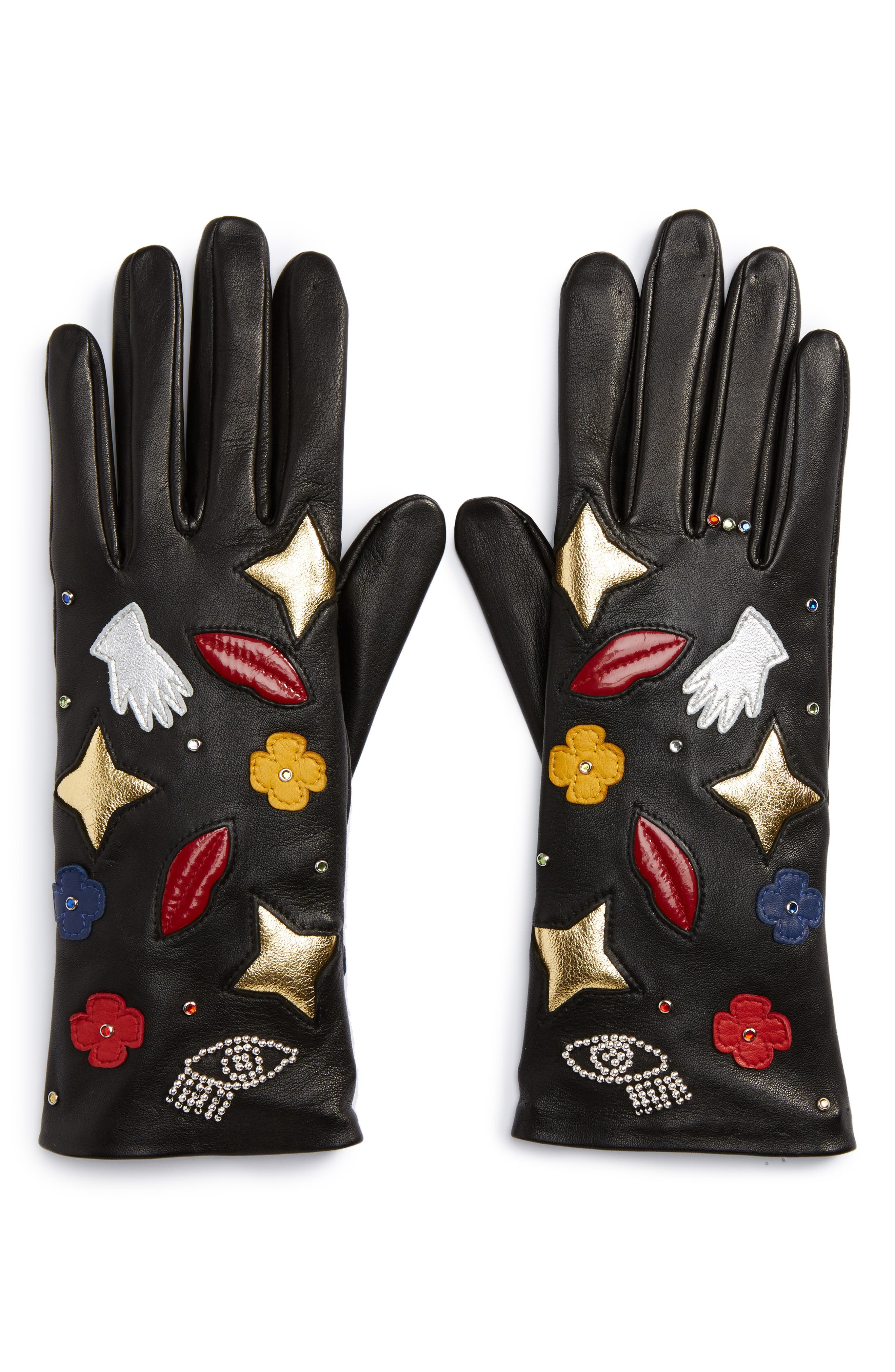 Funny Patches Lambskin Leather Gloves,                             Alternate thumbnail 2, color,                             001