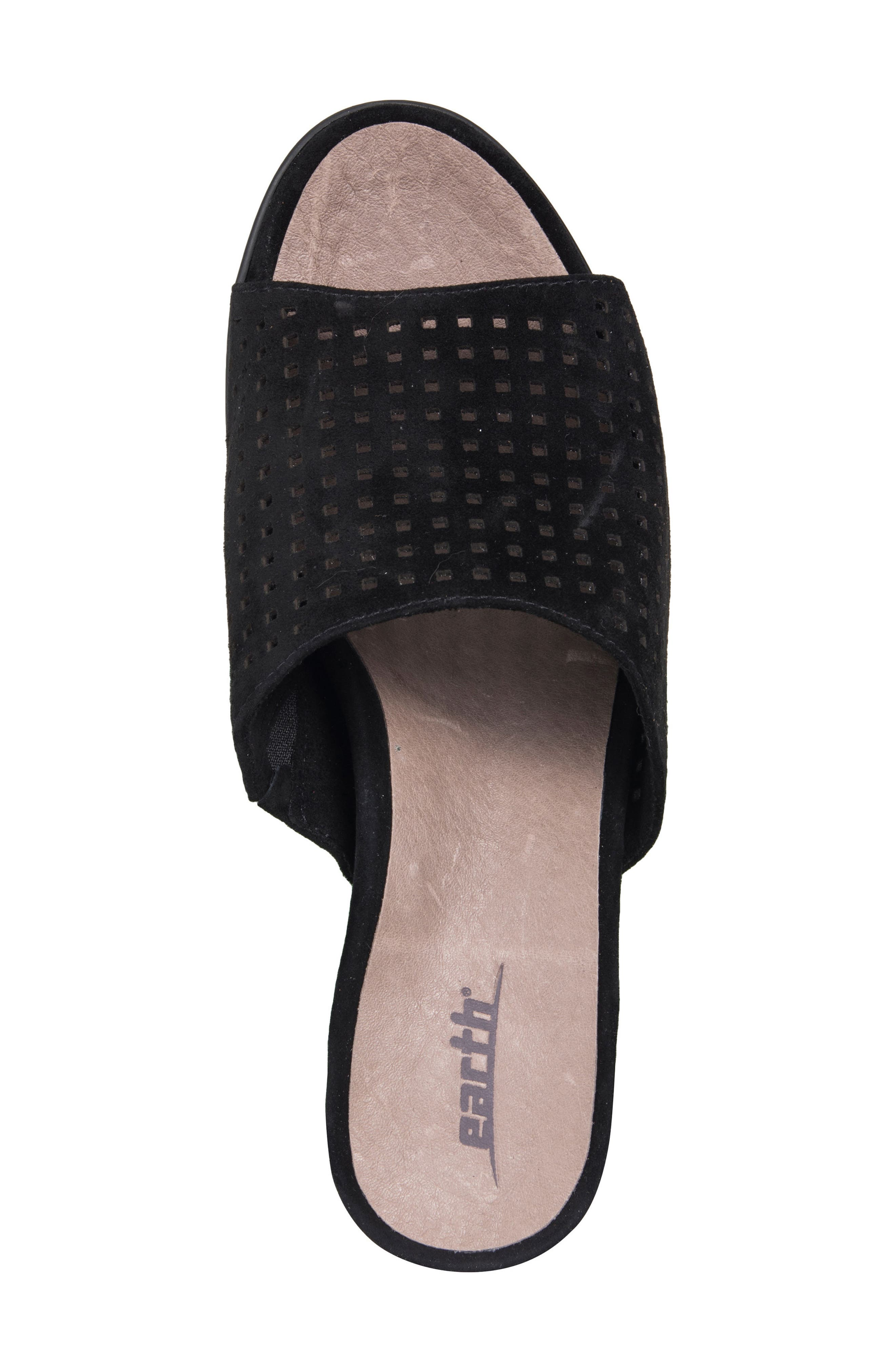 Ibiza Perforated Sandal,                             Alternate thumbnail 5, color,                             BLACK SUEDE