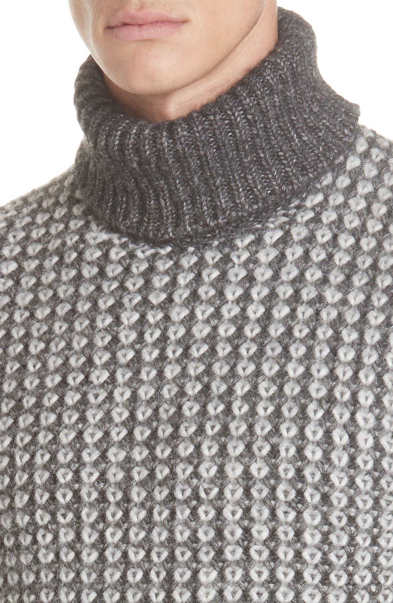 Cotton Blend Turtleneck Sweater,                             Alternate thumbnail 4, color,                             GREY
