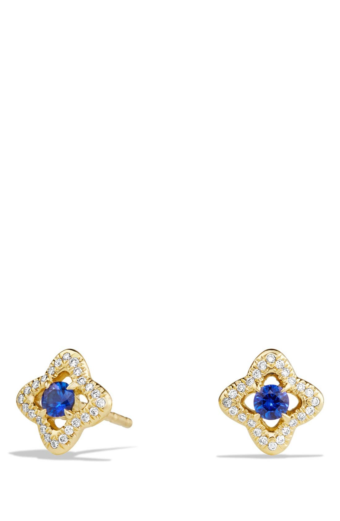'Venetian Quatrefoil' Earrings with Precious Stones and Diamonds in 18K Gold,                         Main,                         color, BLUE SAPPHIRE