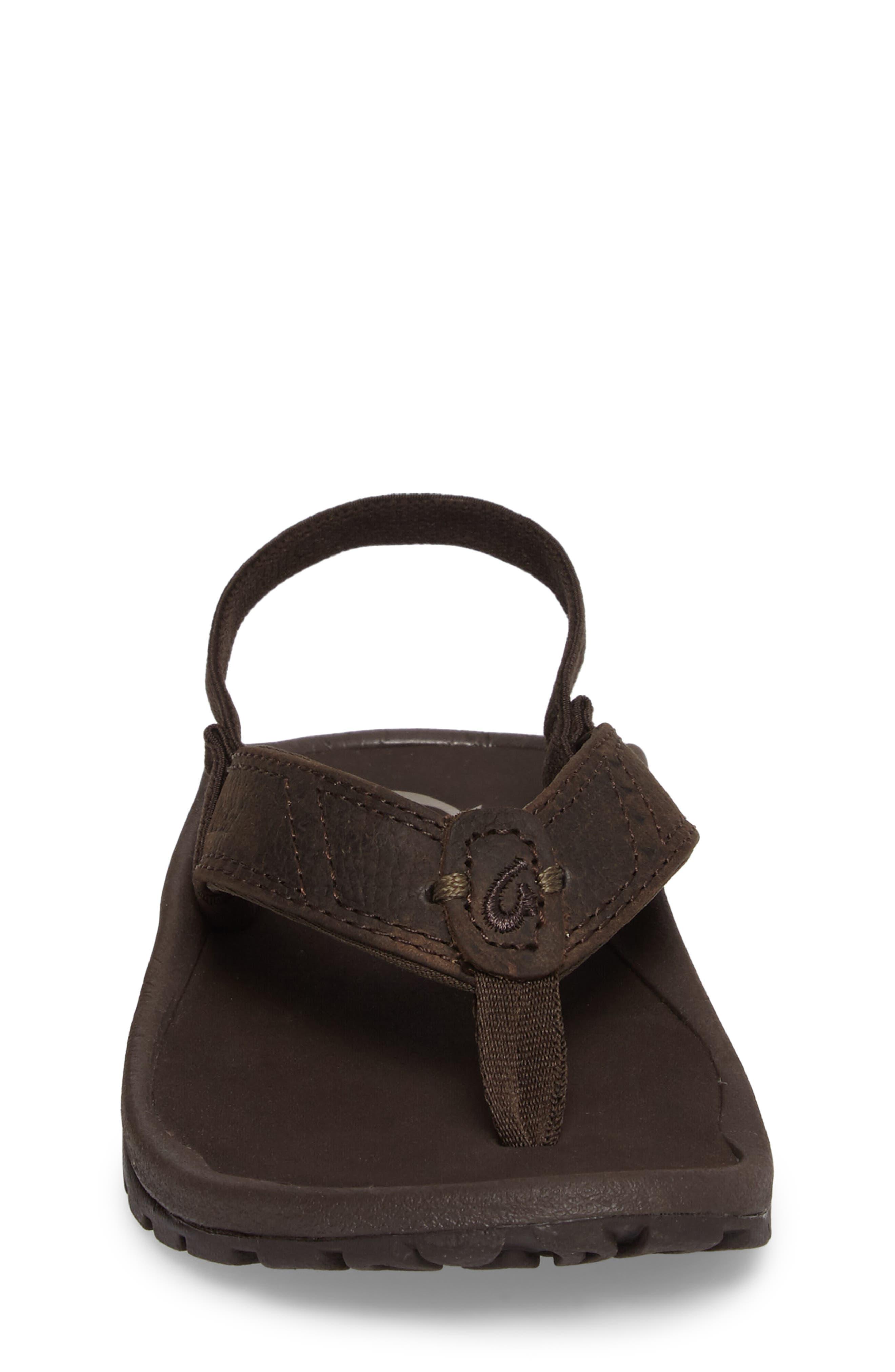 OLUKAI,                             Nui Leather Sandal,                             Alternate thumbnail 4, color,                             SEAL BROWN/ DARK JAVA
