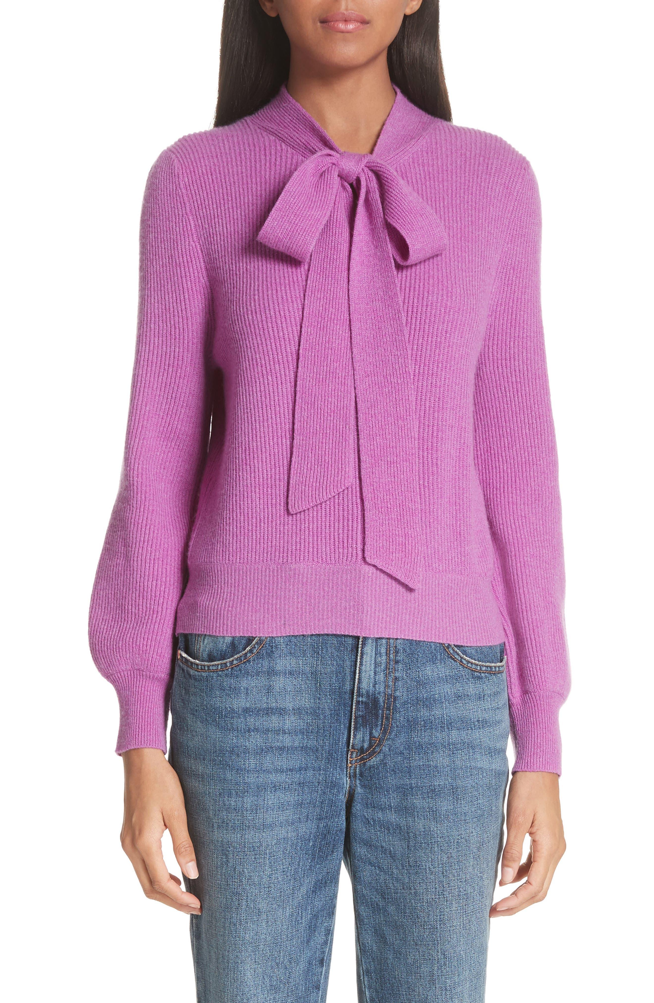 CO,                             Tie Neck Cashmere Sweater,                             Main thumbnail 1, color,                             679