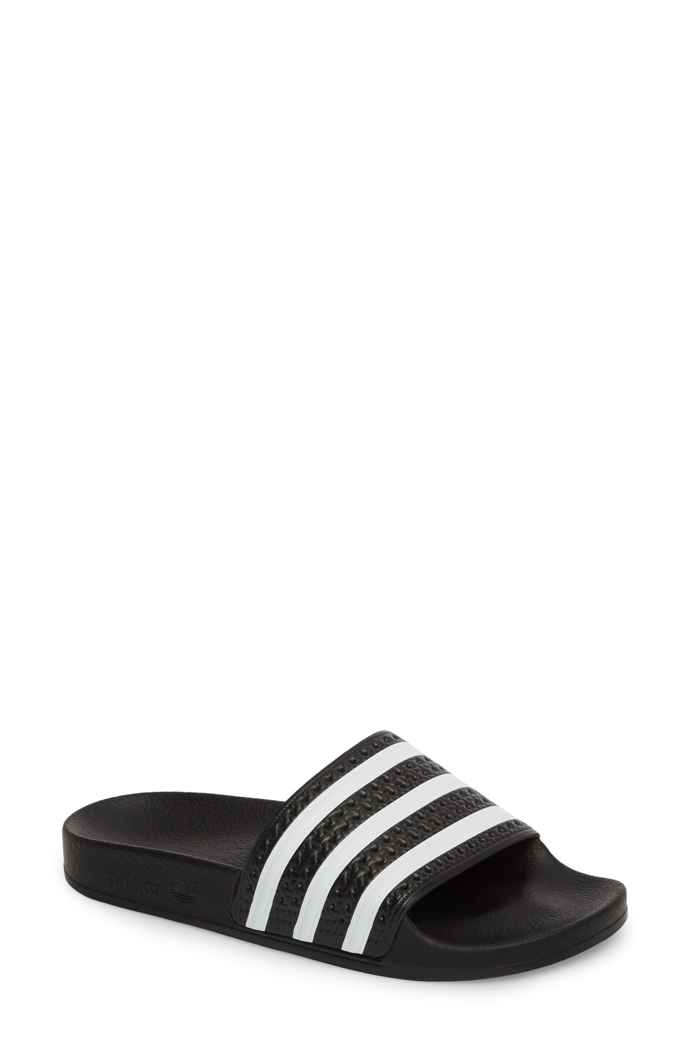 'Adilette' Slide Sandal,                             Main thumbnail 1, color,                             CORE BLACK/ WHITE/ CORE BLACK