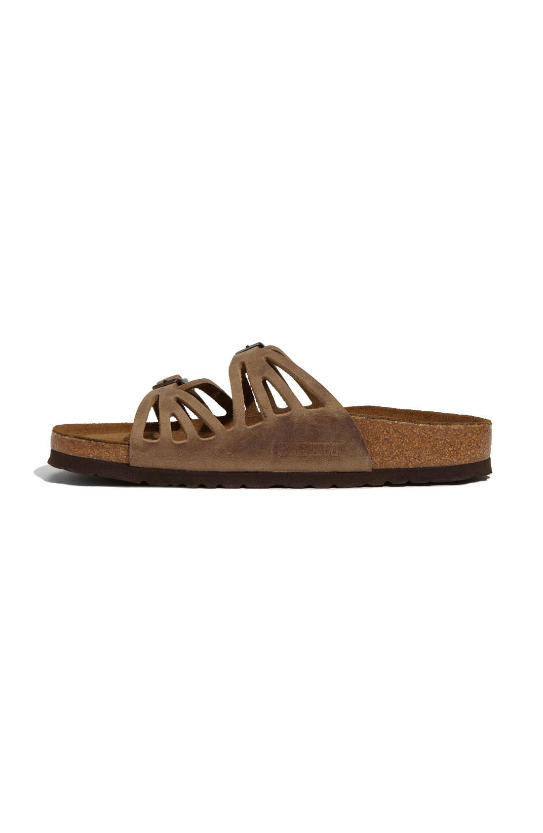 Granada Soft Footbed Oiled Leather Sandal,                             Alternate thumbnail 7, color,                             TOBACCO