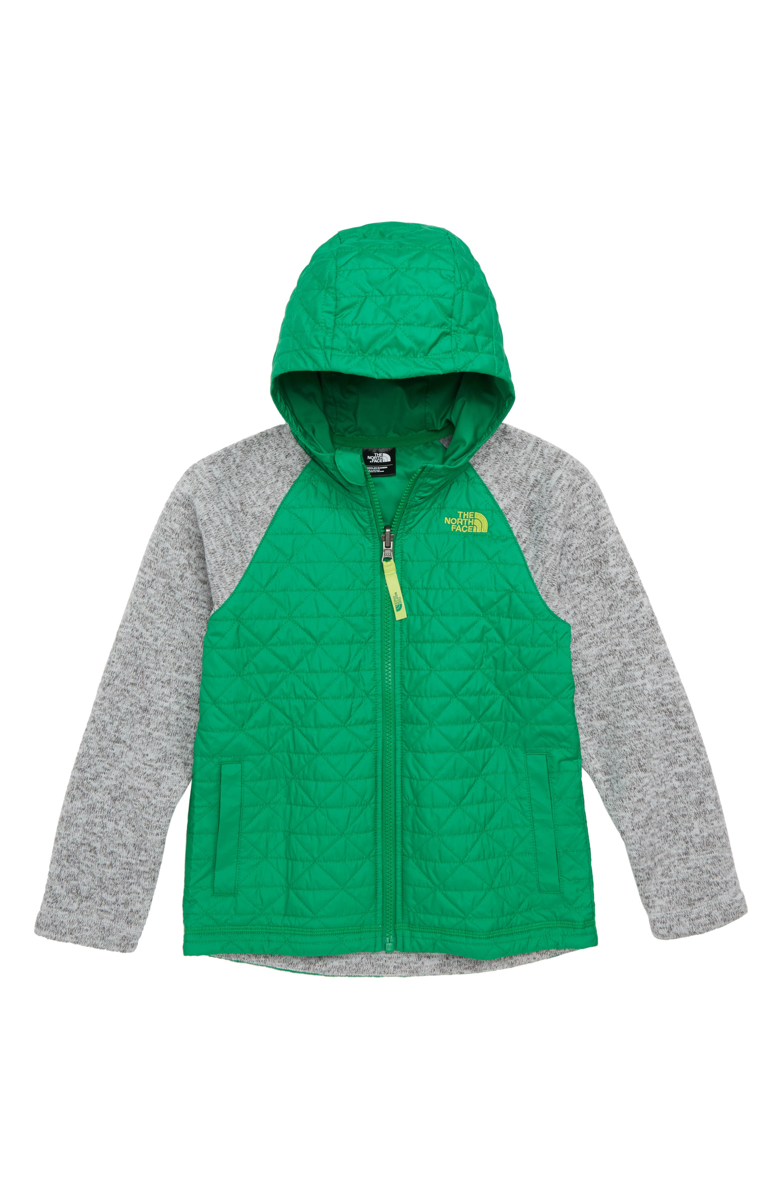 Water Repellent Quilted Sweater Fleece Jacket,                             Main thumbnail 1, color,                             PRIMARY GREEN