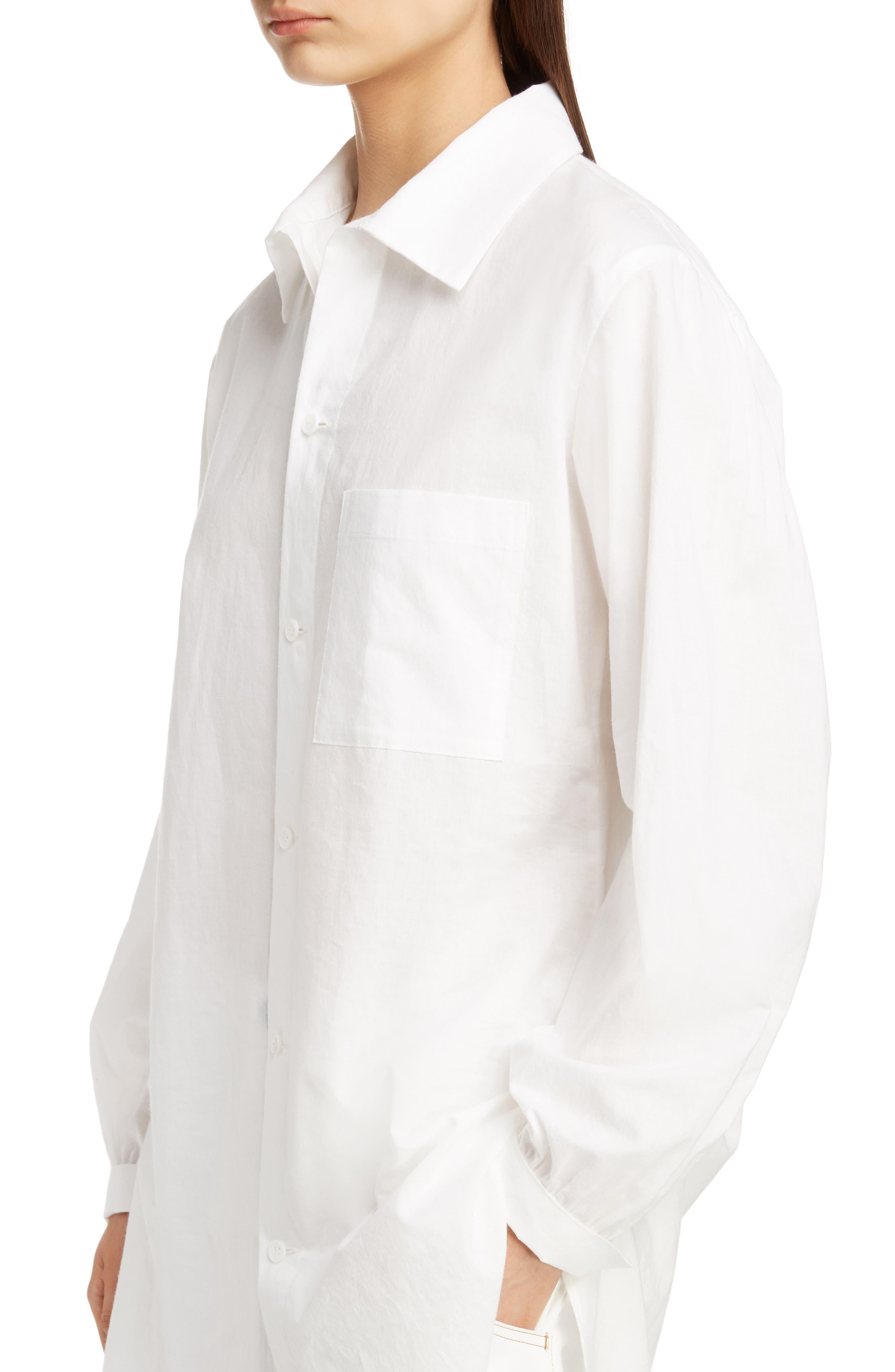 Tuck Long Blouse,                             Alternate thumbnail 4, color,                             WHITE