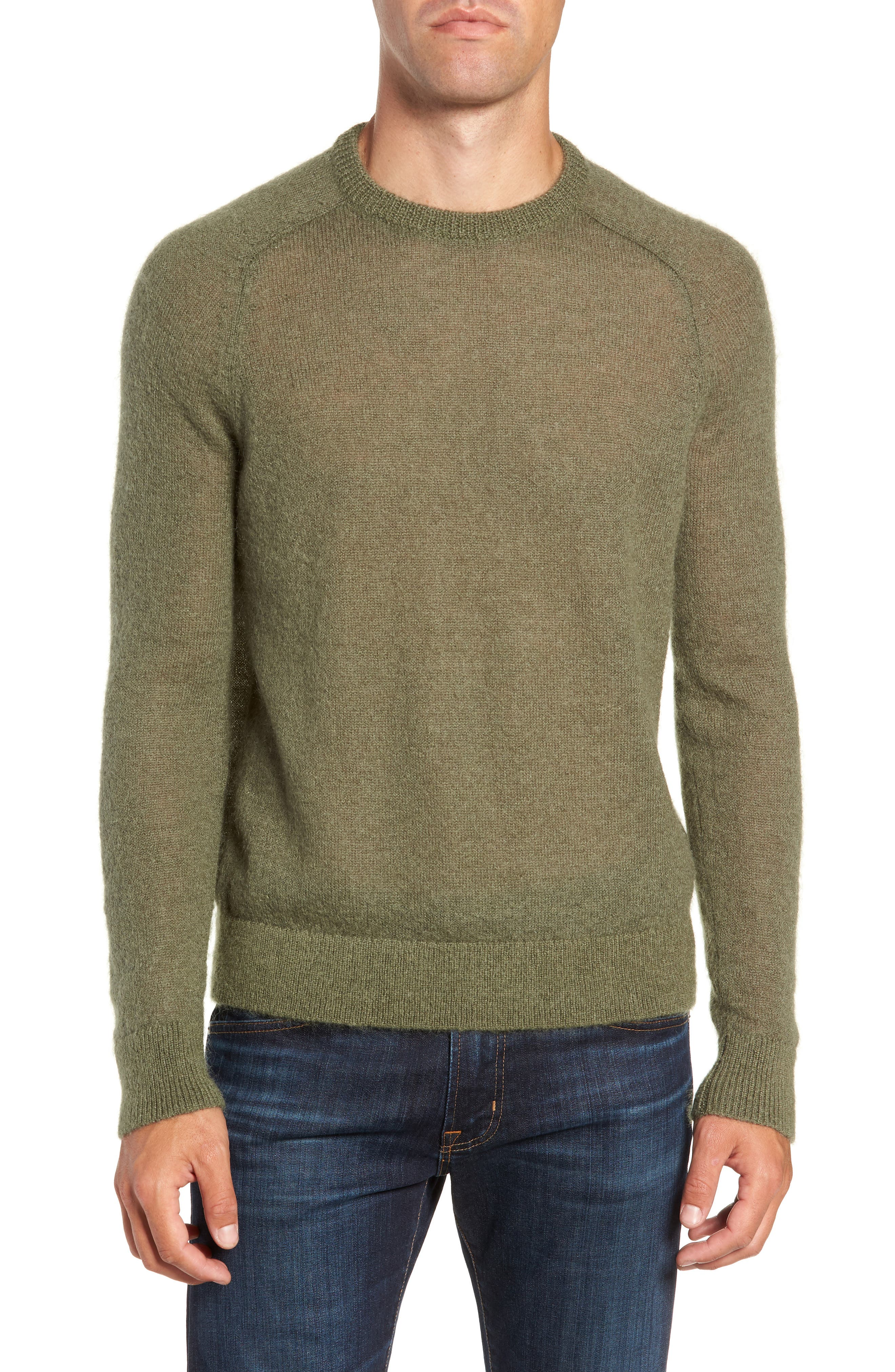 Mohair Blend Crewneck Sweater,                             Main thumbnail 1, color,                             DARK OLIVE