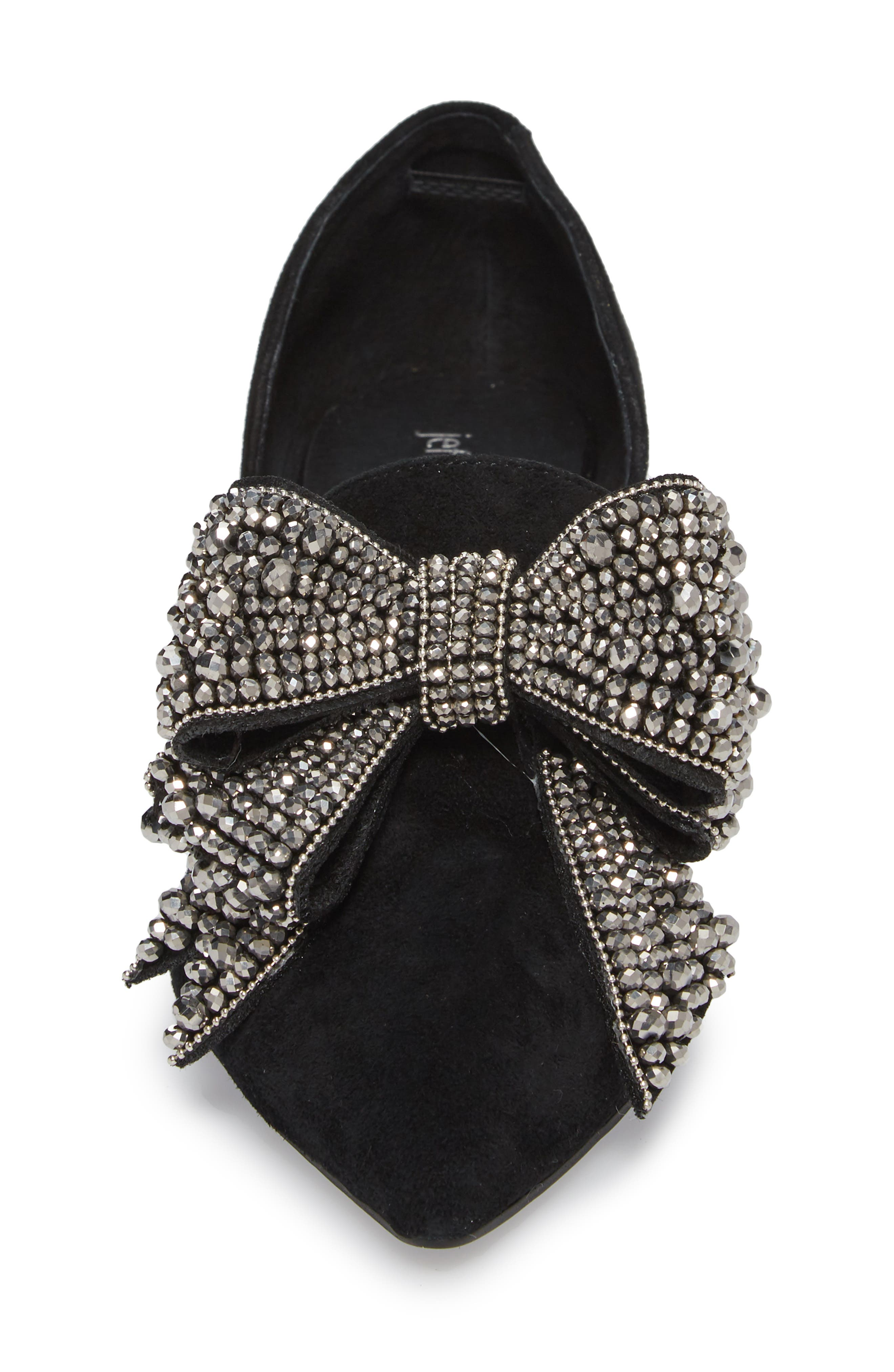 Valenti Embellished Bow Loafer,                             Alternate thumbnail 4, color,                             001