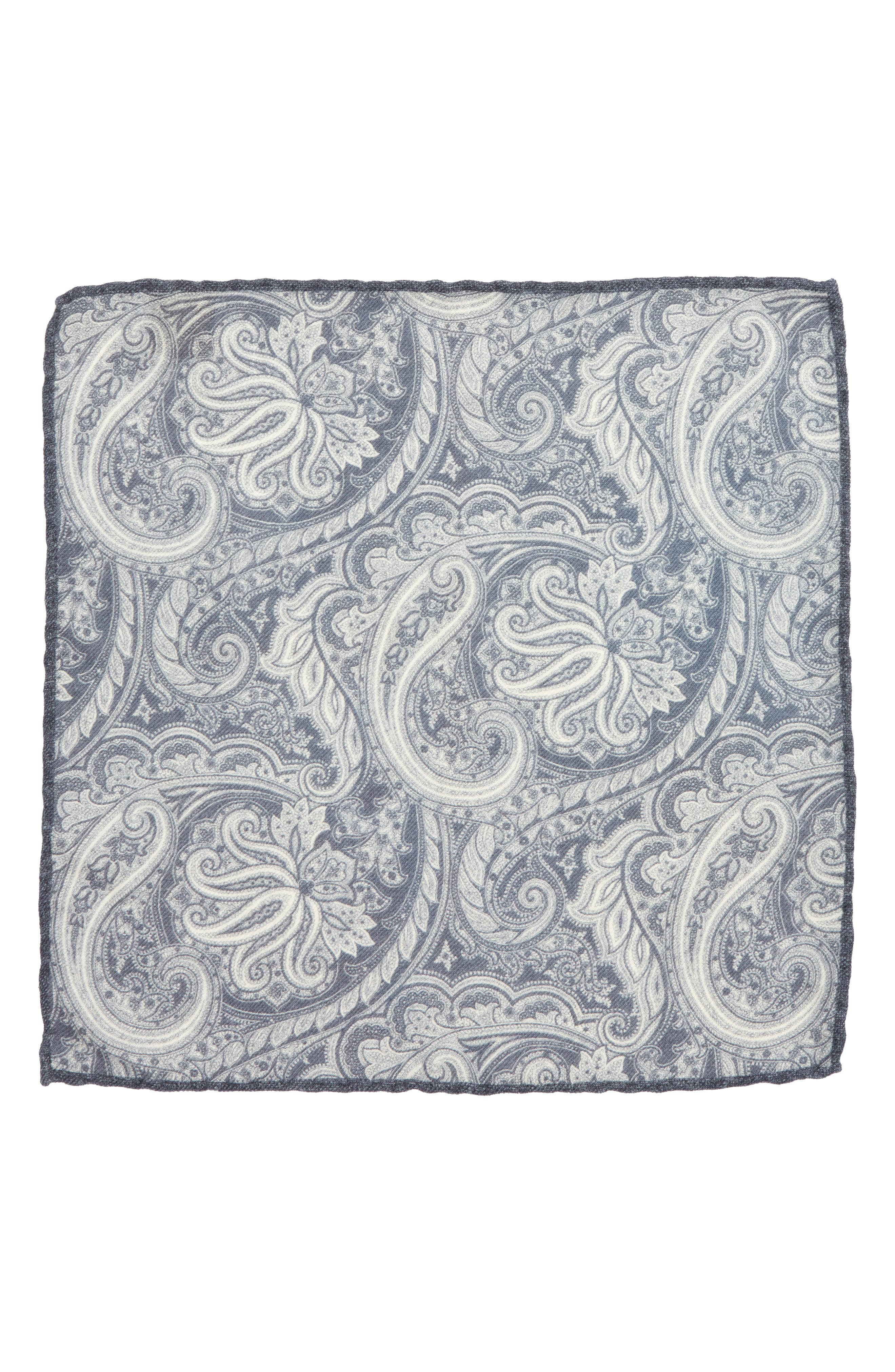 Paisley Wool Pocket Square,                             Alternate thumbnail 3, color,