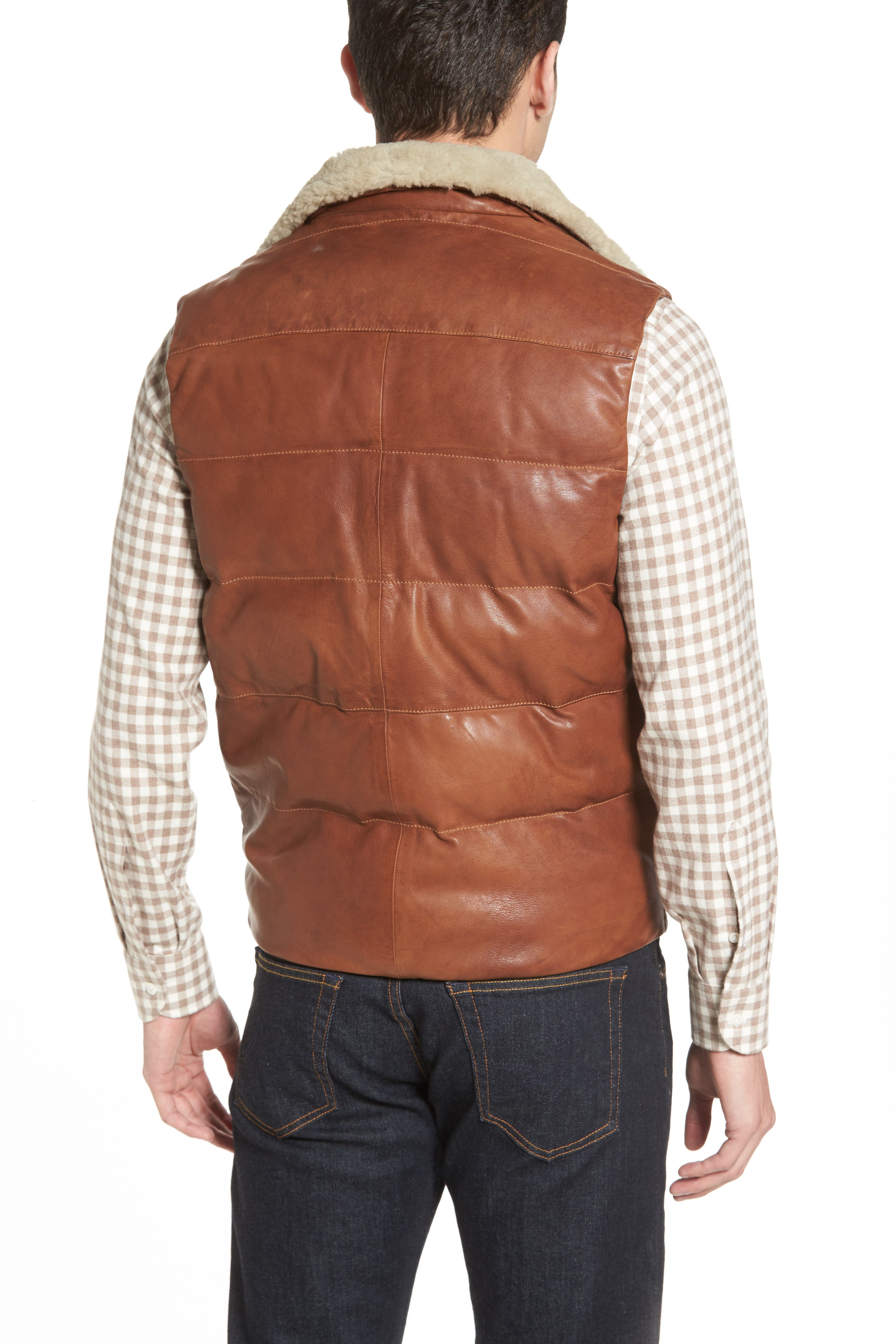Quilted Leather Vest with Removable Genuine Shearling Collar,                             Alternate thumbnail 3, color,                             210