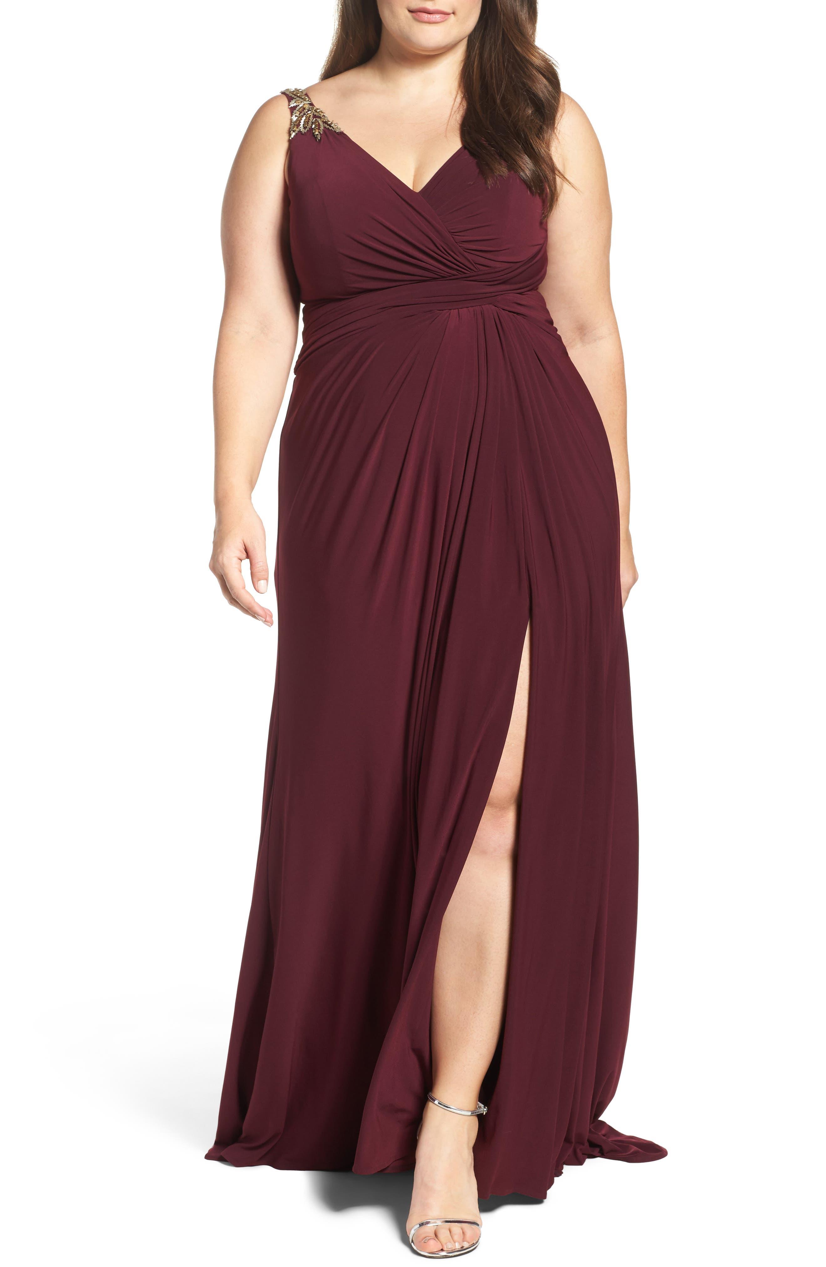 Embellished Shoulder Jersey Gown,                             Main thumbnail 1, color,                             BURGUNDY