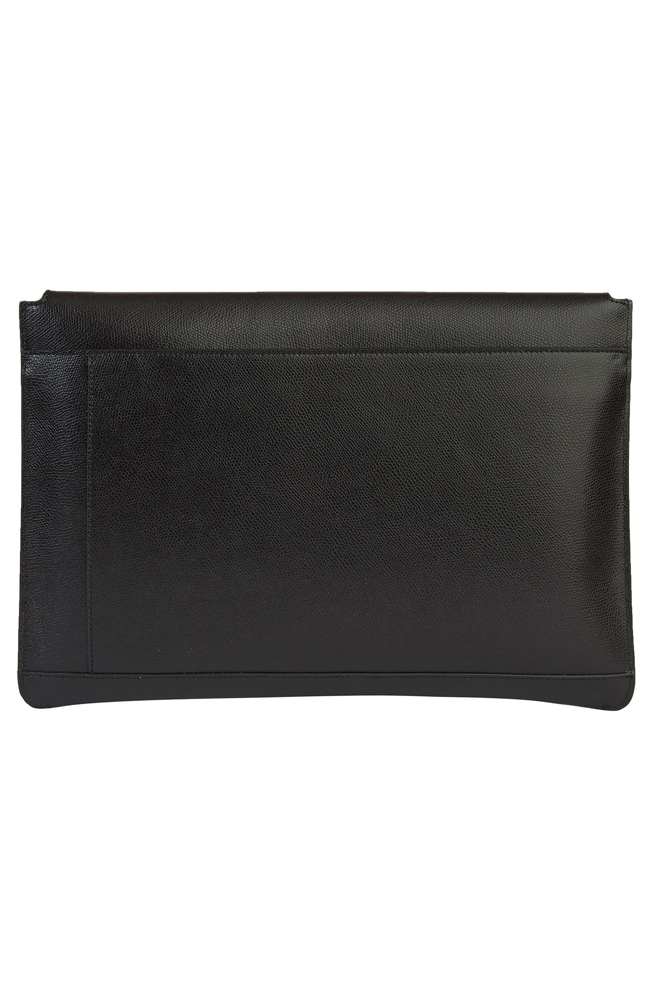 Pebbled Leather Envelope Clutch,                             Alternate thumbnail 2, color,                             NOIR