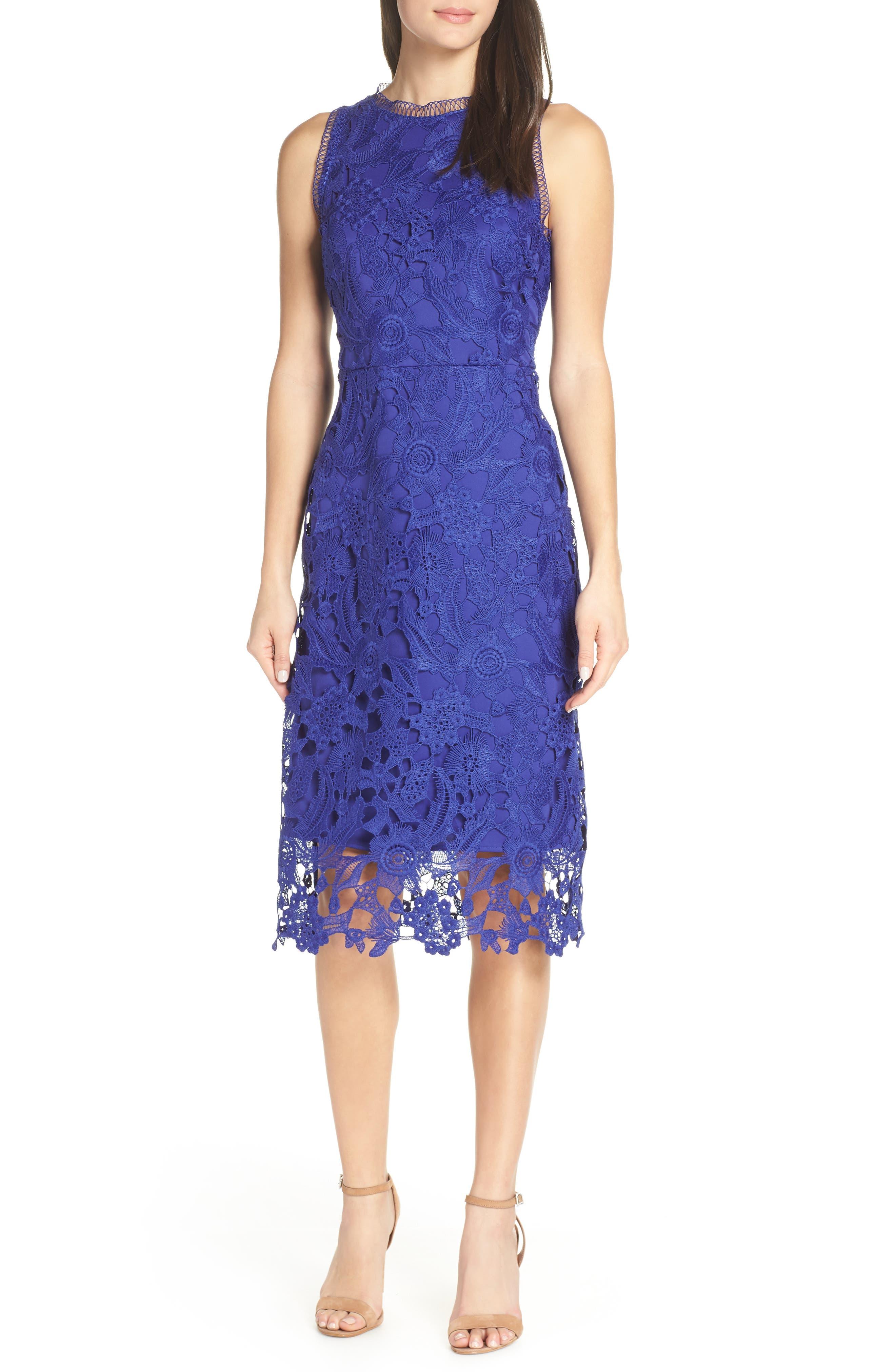 SAM EDELMAN Lace Midi Dress, Main, color, COBALT