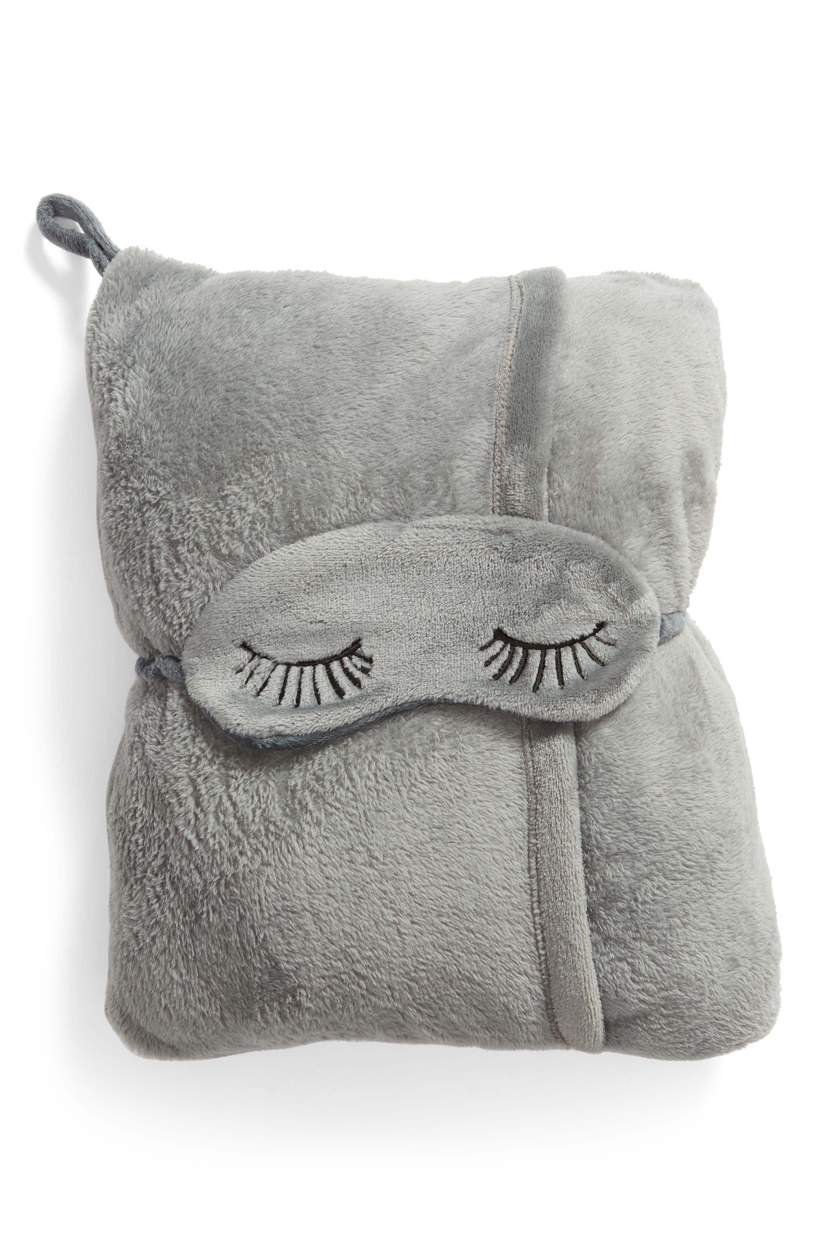 Eye Mask & Travel Blanket,                         Main,                         color, GREY VAPOR