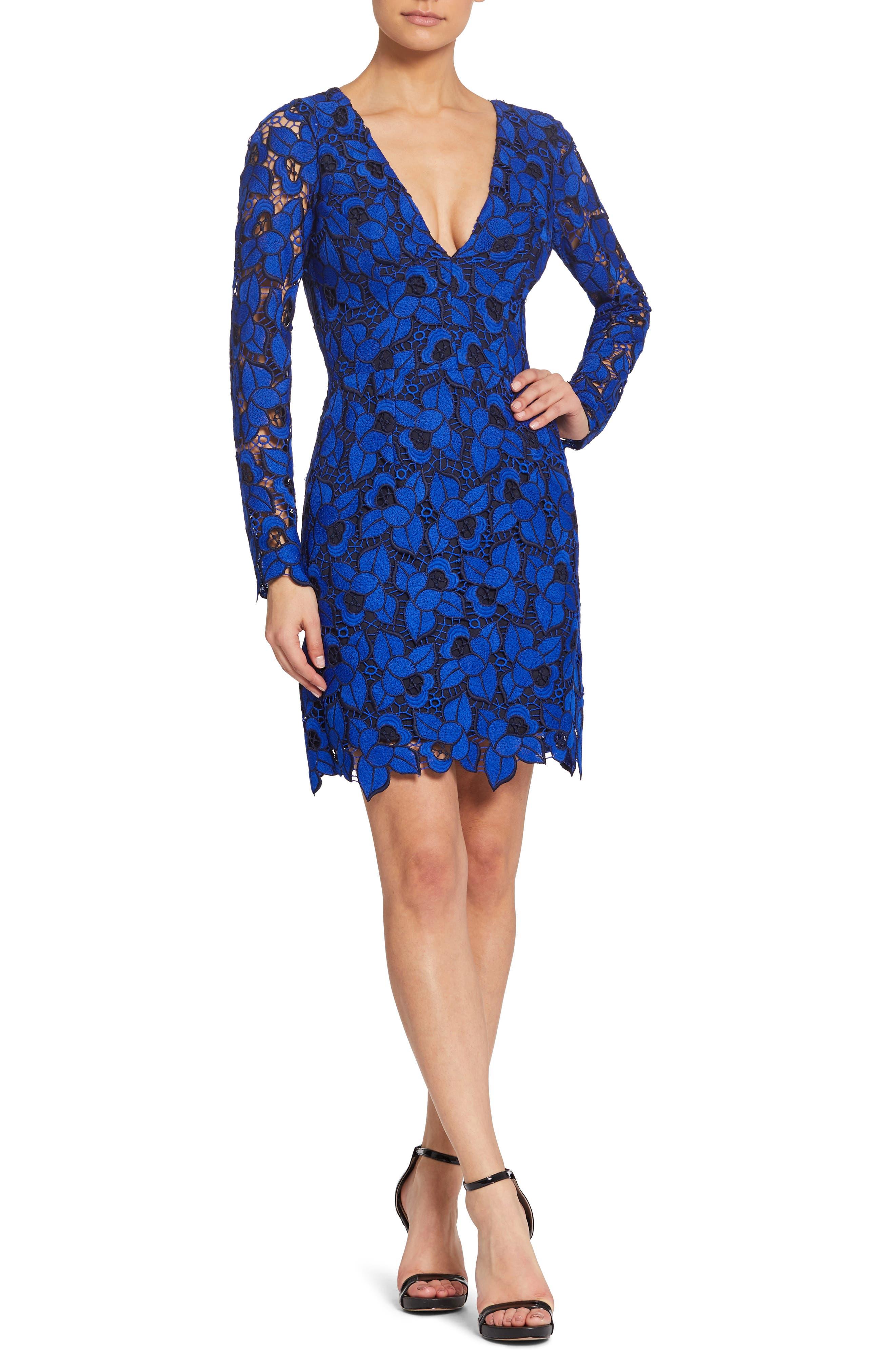 DRESS THE POPULATION Katherine Short Lace Cocktail Dress in Cobalt/ Black