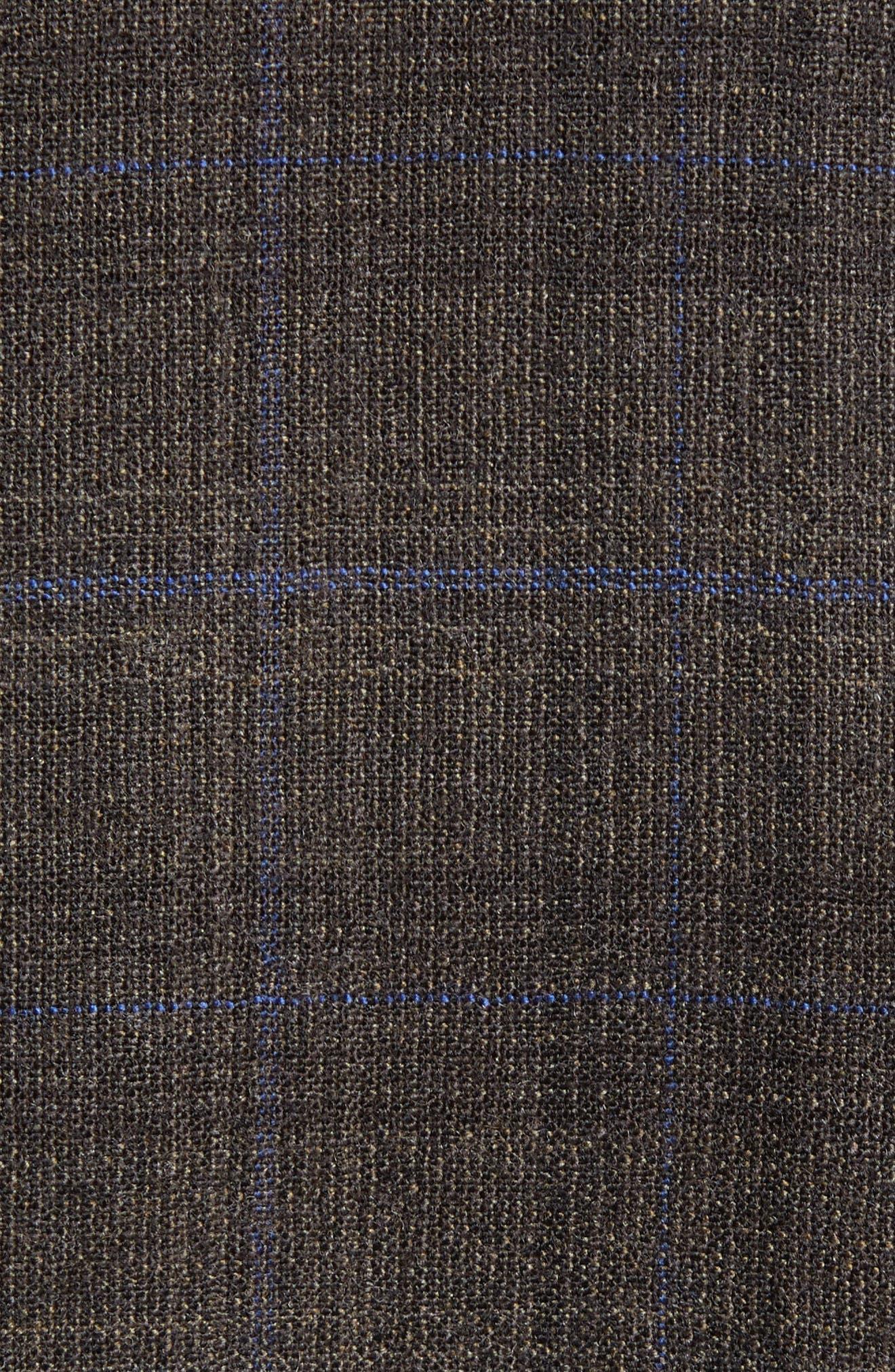 Jay Trim Fit Plaid Wool Suit,                             Alternate thumbnail 7, color,                             BROWN PLAID