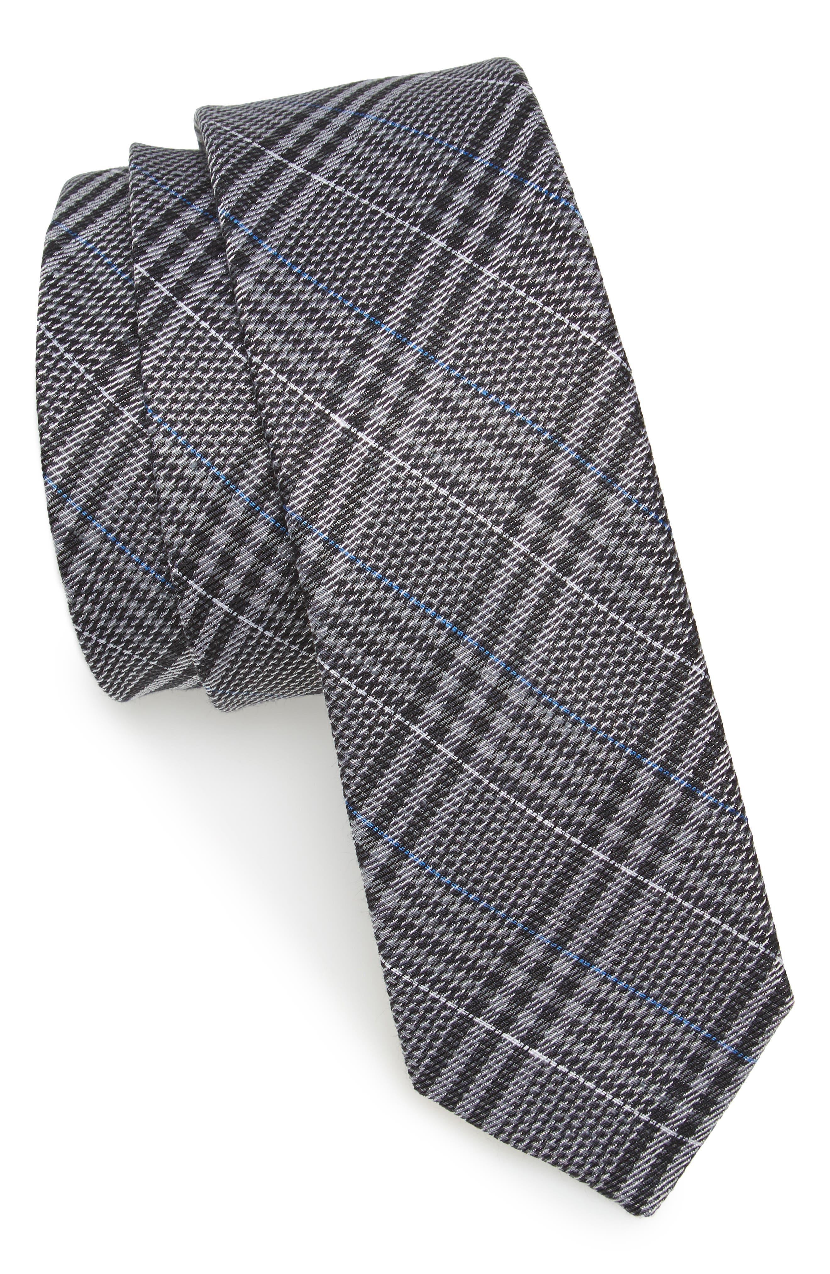 Columbus Plaid Linen & Silk Tie,                             Main thumbnail 1, color,                             030