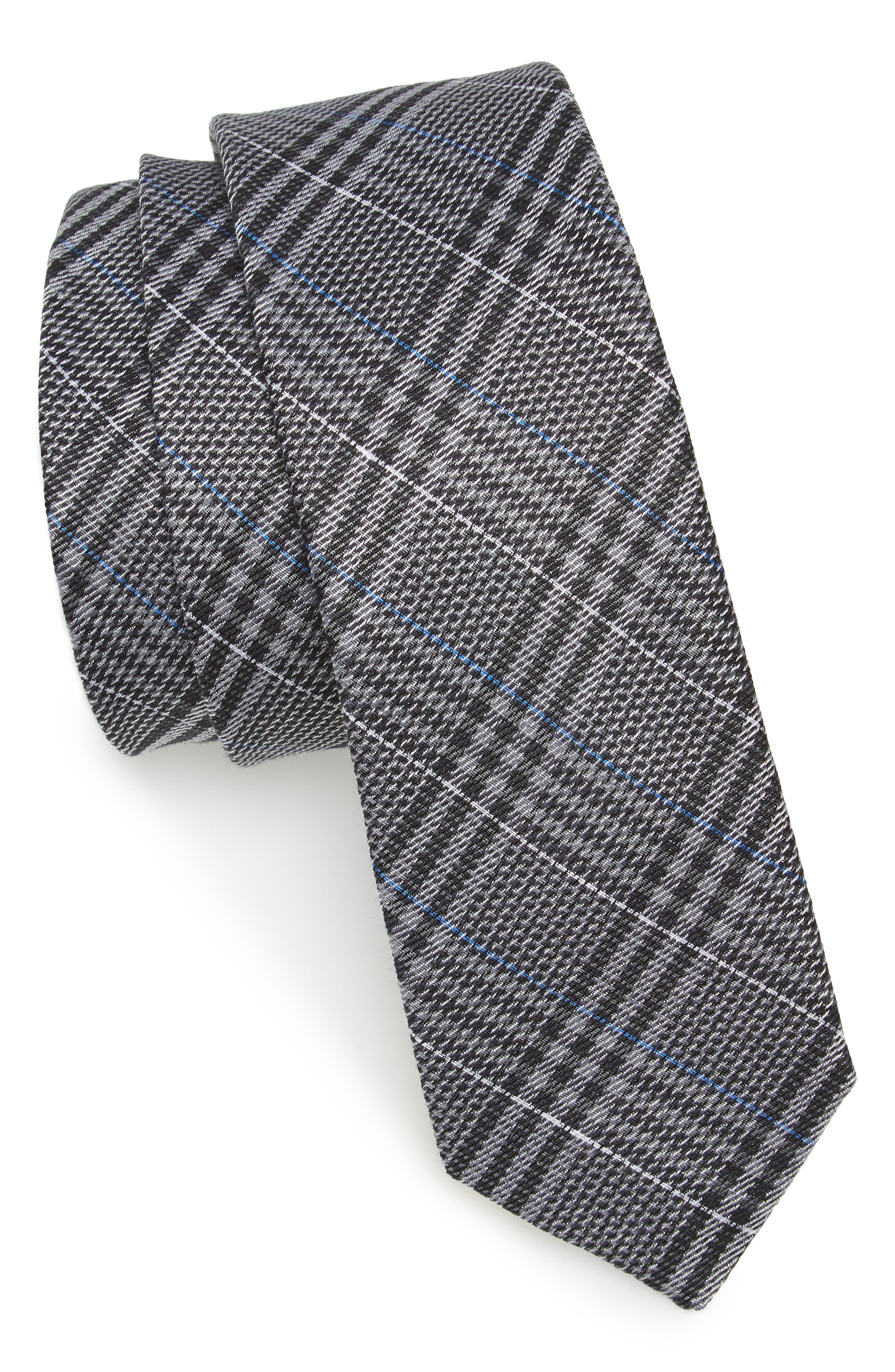 Columbus Plaid Linen & Silk Tie,                         Main,                         color, 030