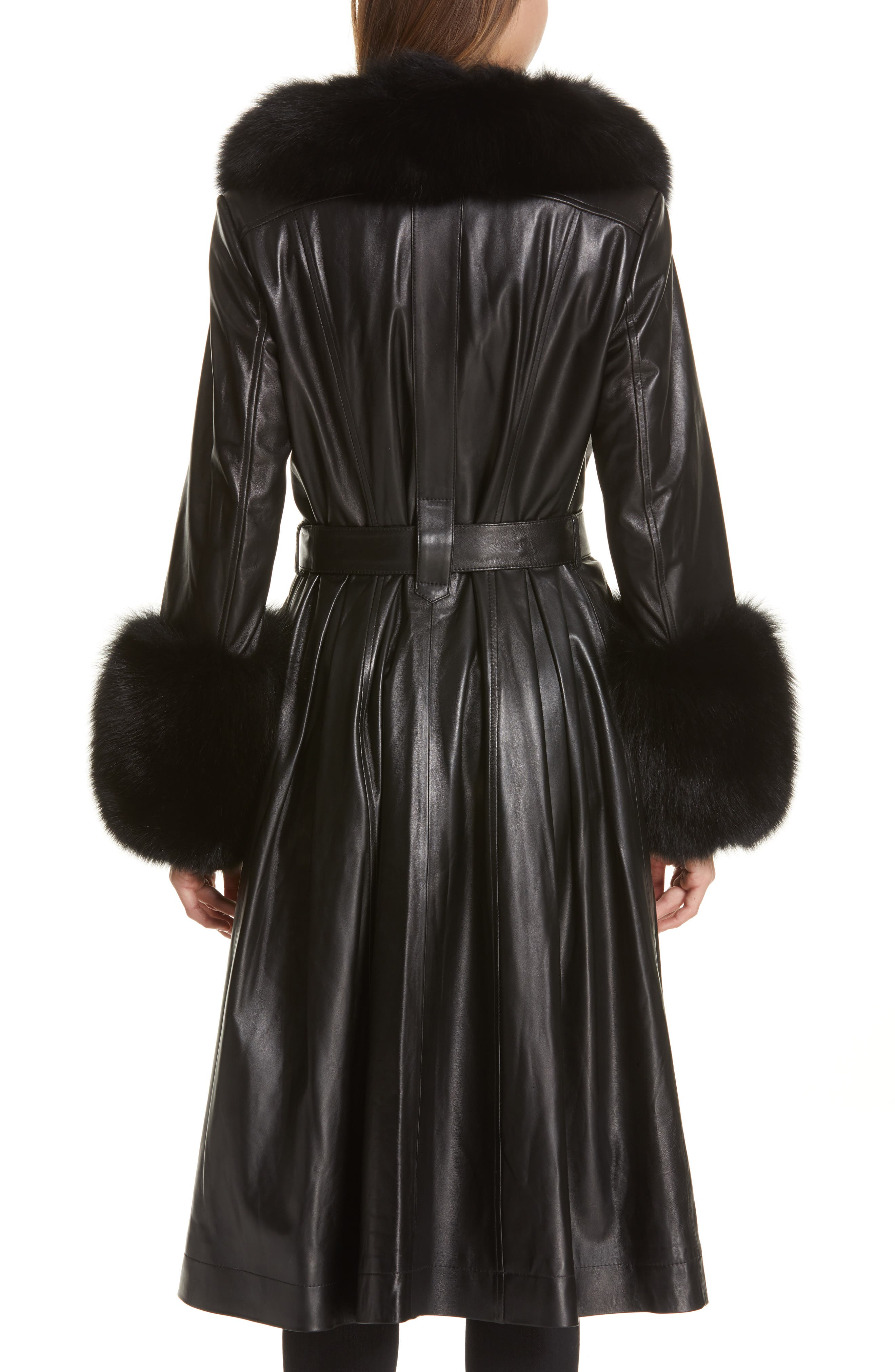 SAKS POTTS,                             Foxy Leather Coat with Genuine Fox Fur Trim,                             Alternate thumbnail 2, color,                             BLACK