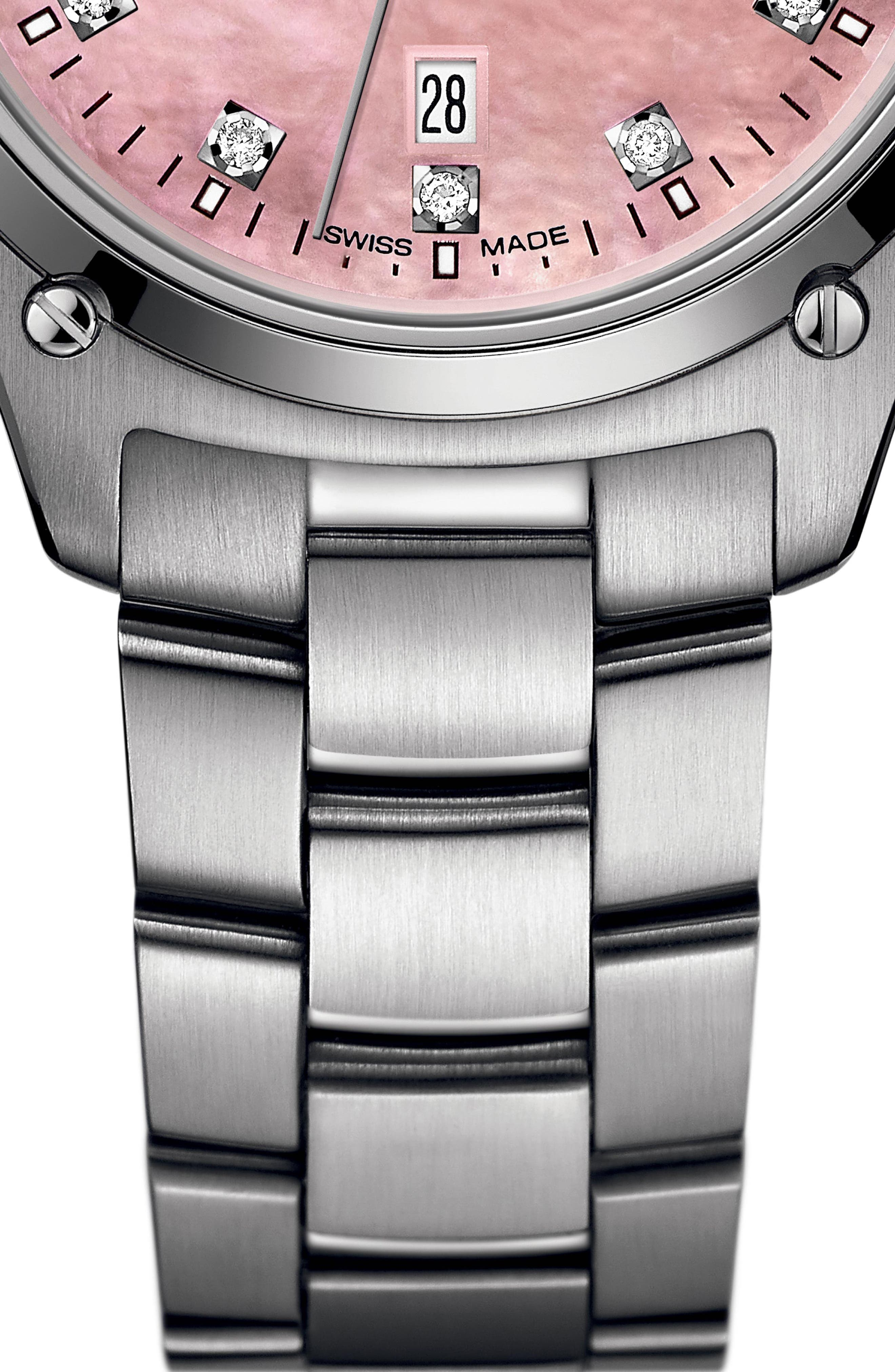 Discovery Diamond Bracelet Watch, 33mm,                             Alternate thumbnail 3, color,                             SILVER/ PINK MOP/ SILVER