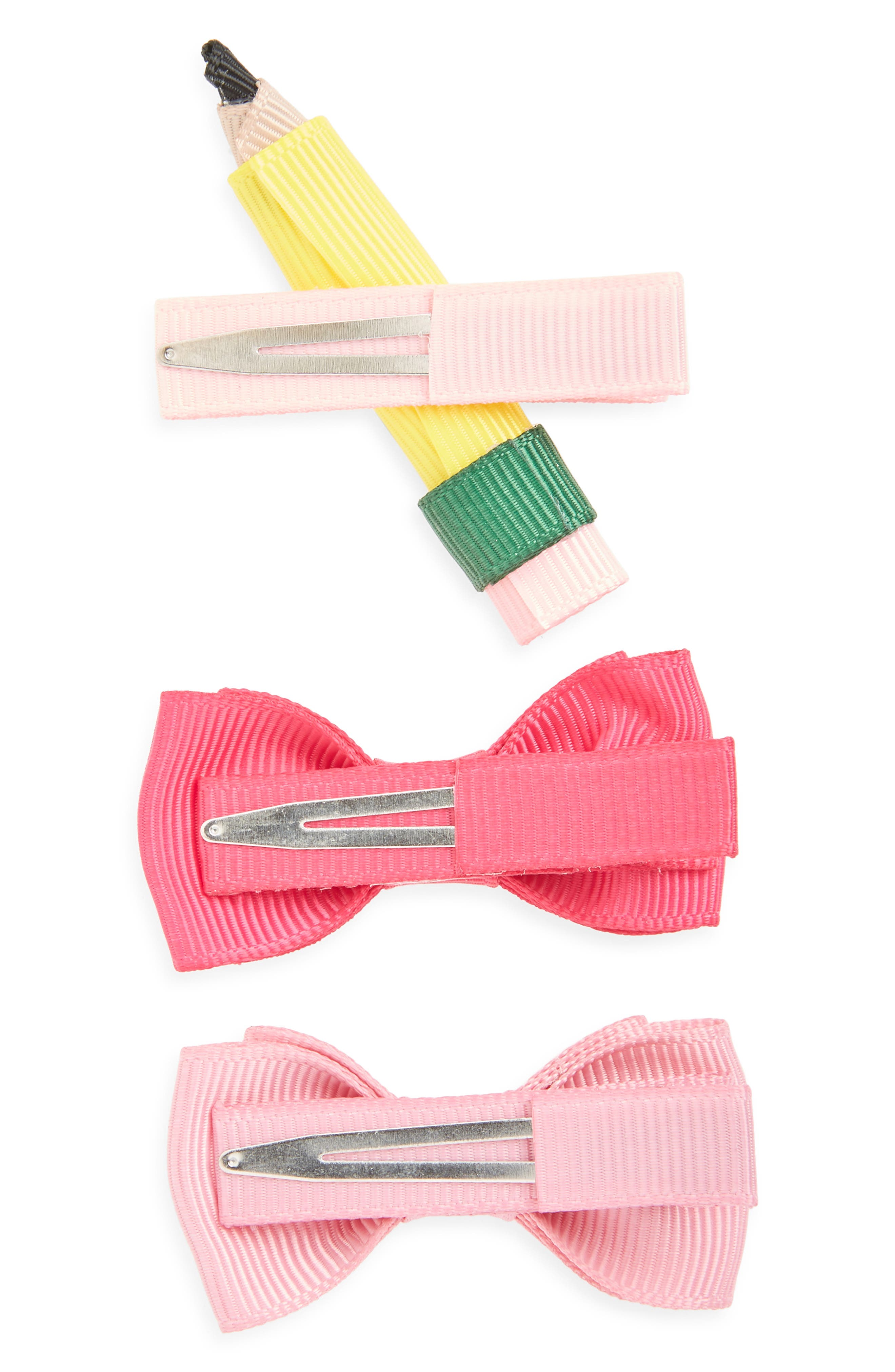 Set of 3 Back to School Hair Clips,                             Alternate thumbnail 2, color,                             ASSORTED