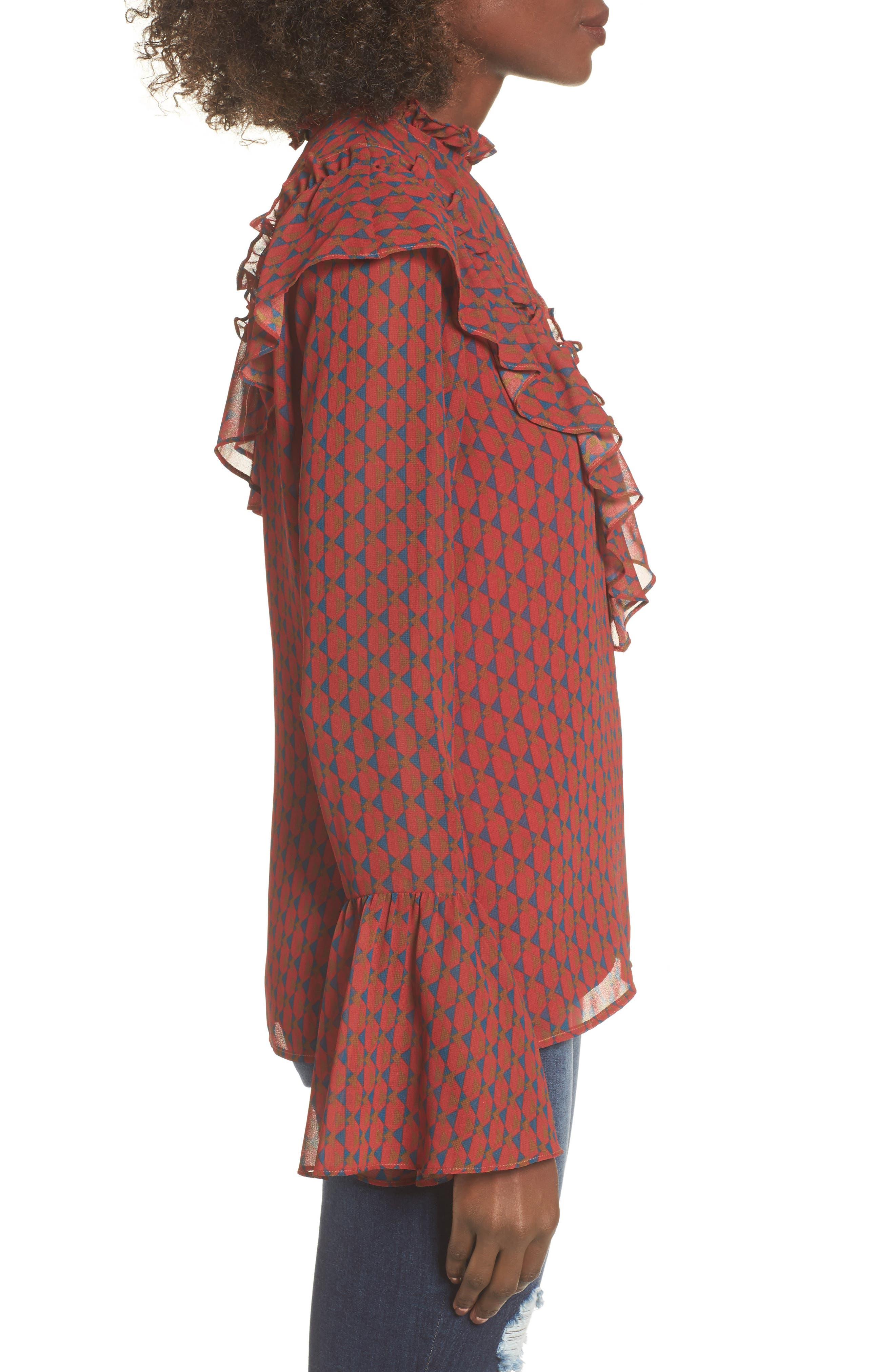 Eryn Ruffle Bell Sleeve Blouse,                             Alternate thumbnail 3, color,                             600