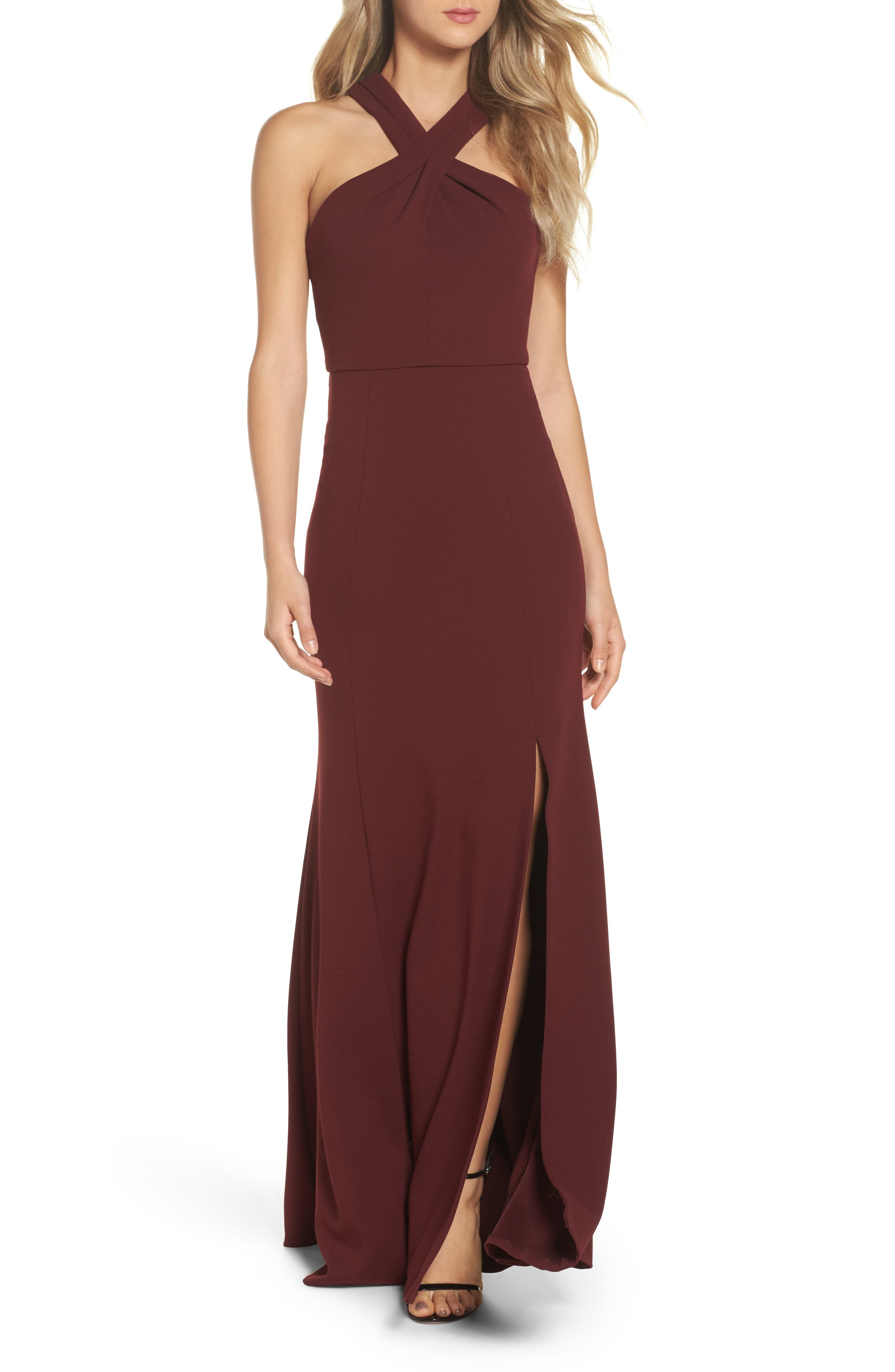 Jenny Yoo Kayleigh Cross Front Crepe Knit Gown, Burgundy